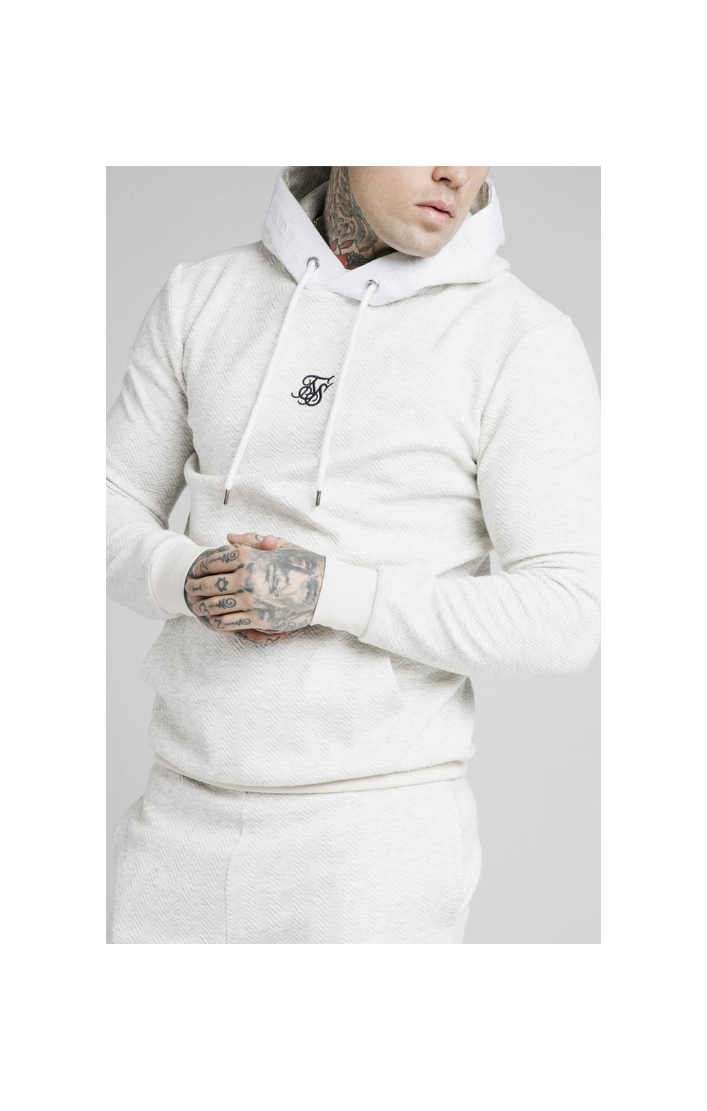 SikSilk Overhead Textured Tape Hoodie - Snow Marl