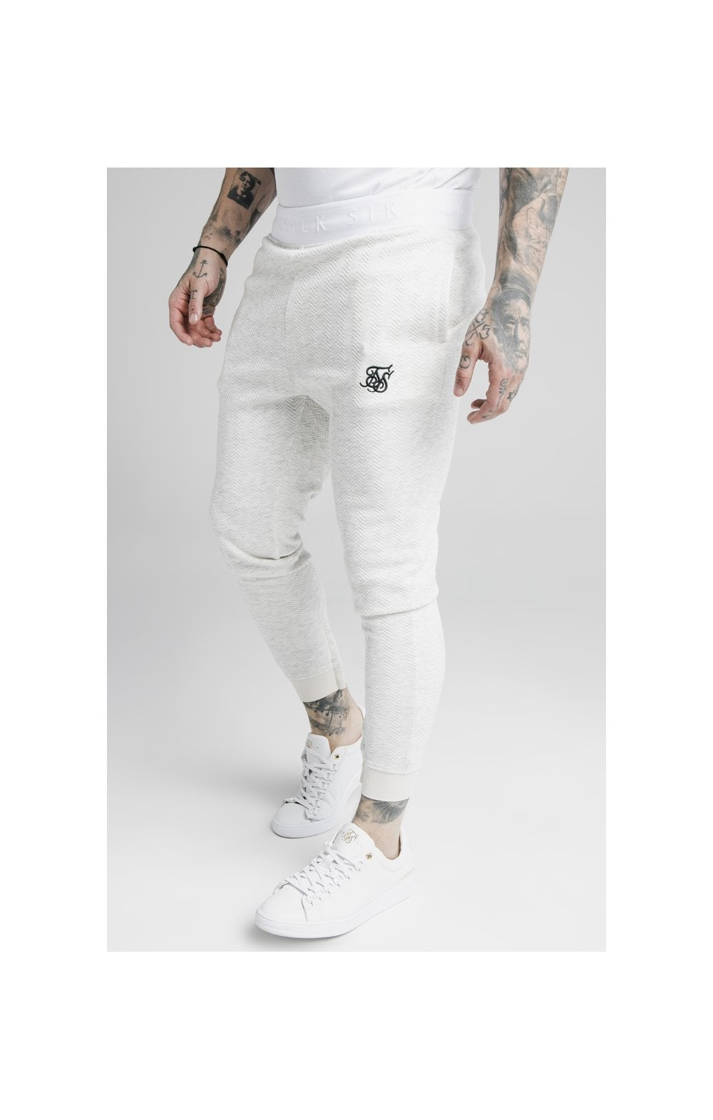 SikSilk Agility Textured Tape Track Pants – Snow Marl