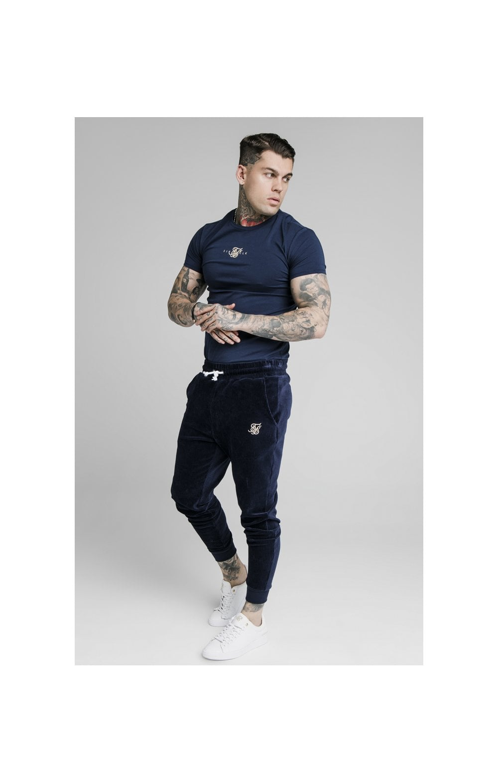 SikSilk Allure Straight Hem Gym Tee - Navy (2)