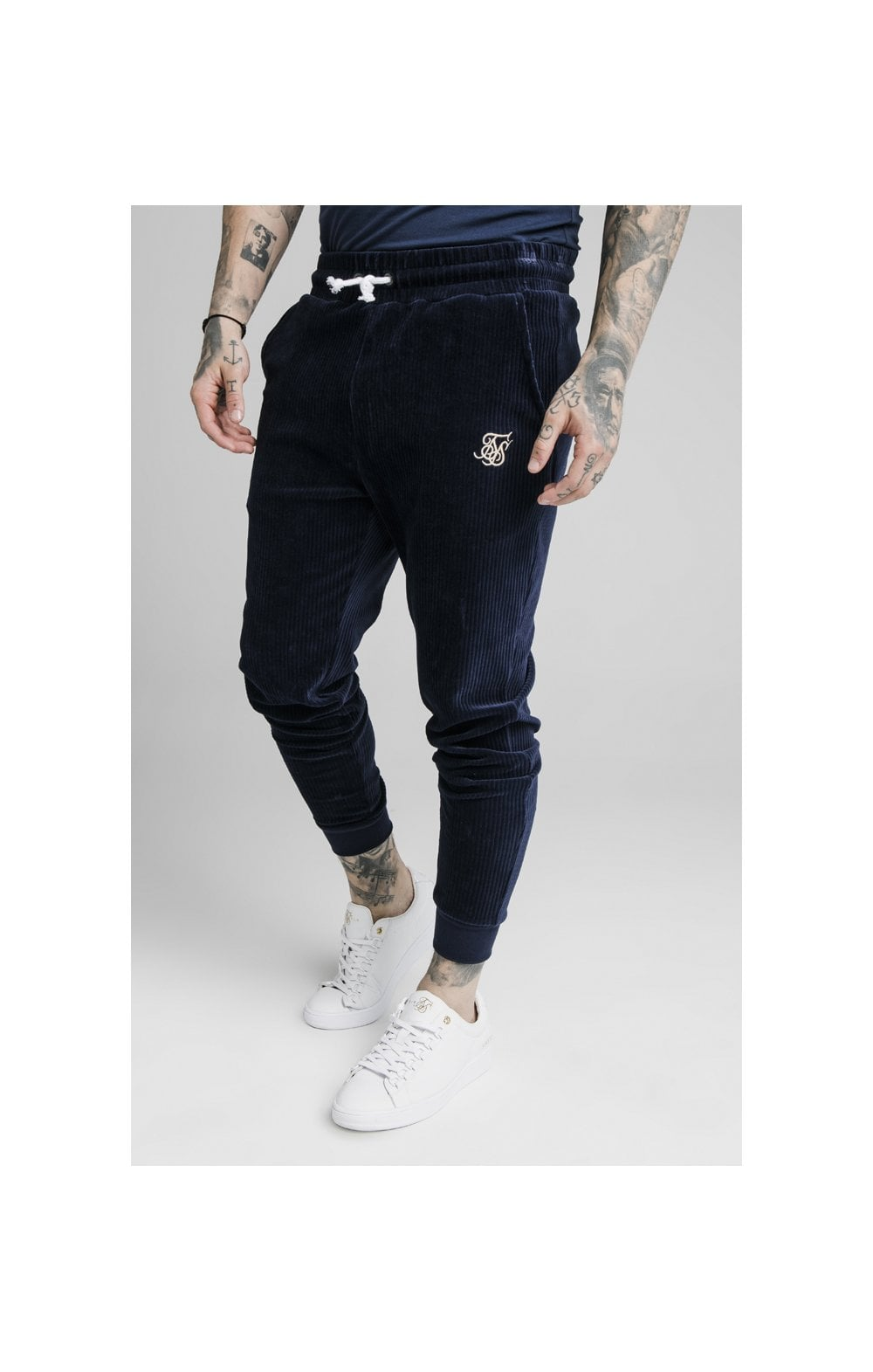 SikSilk Allure Corduroy Cuffed Pants – Navy