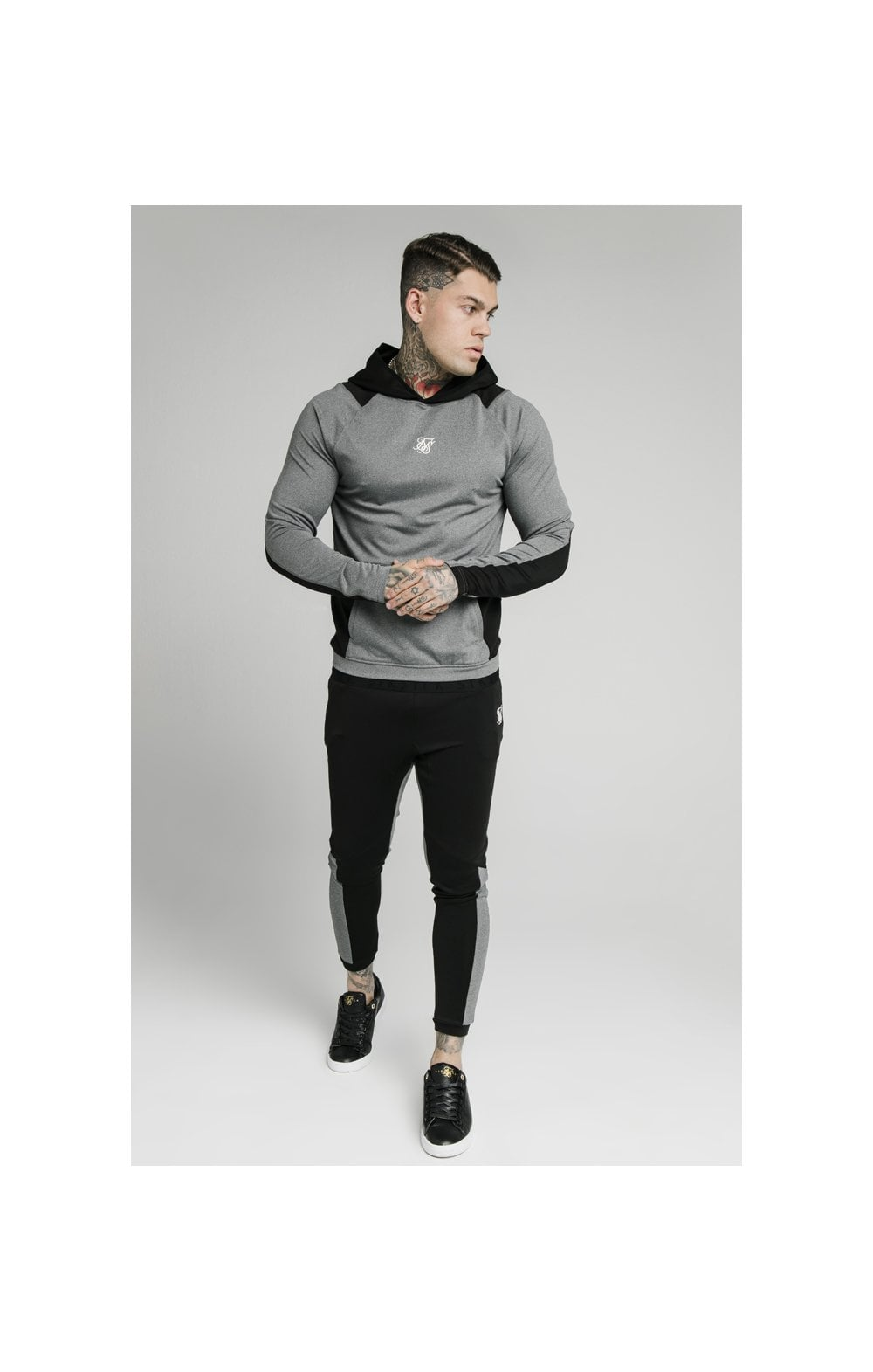 Load image into Gallery viewer, SikSilk Endurance Overhead Hoodie – Grey & Black