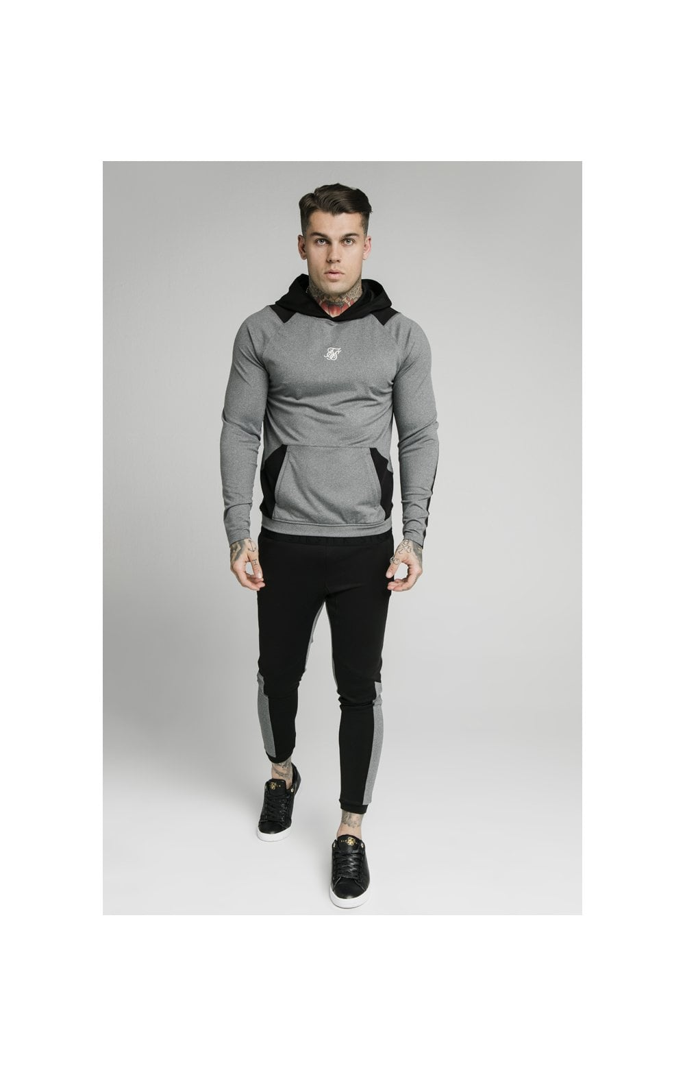 Load image into Gallery viewer, SikSilk Endurance Overhead Hoodie – Grey & Black (1)