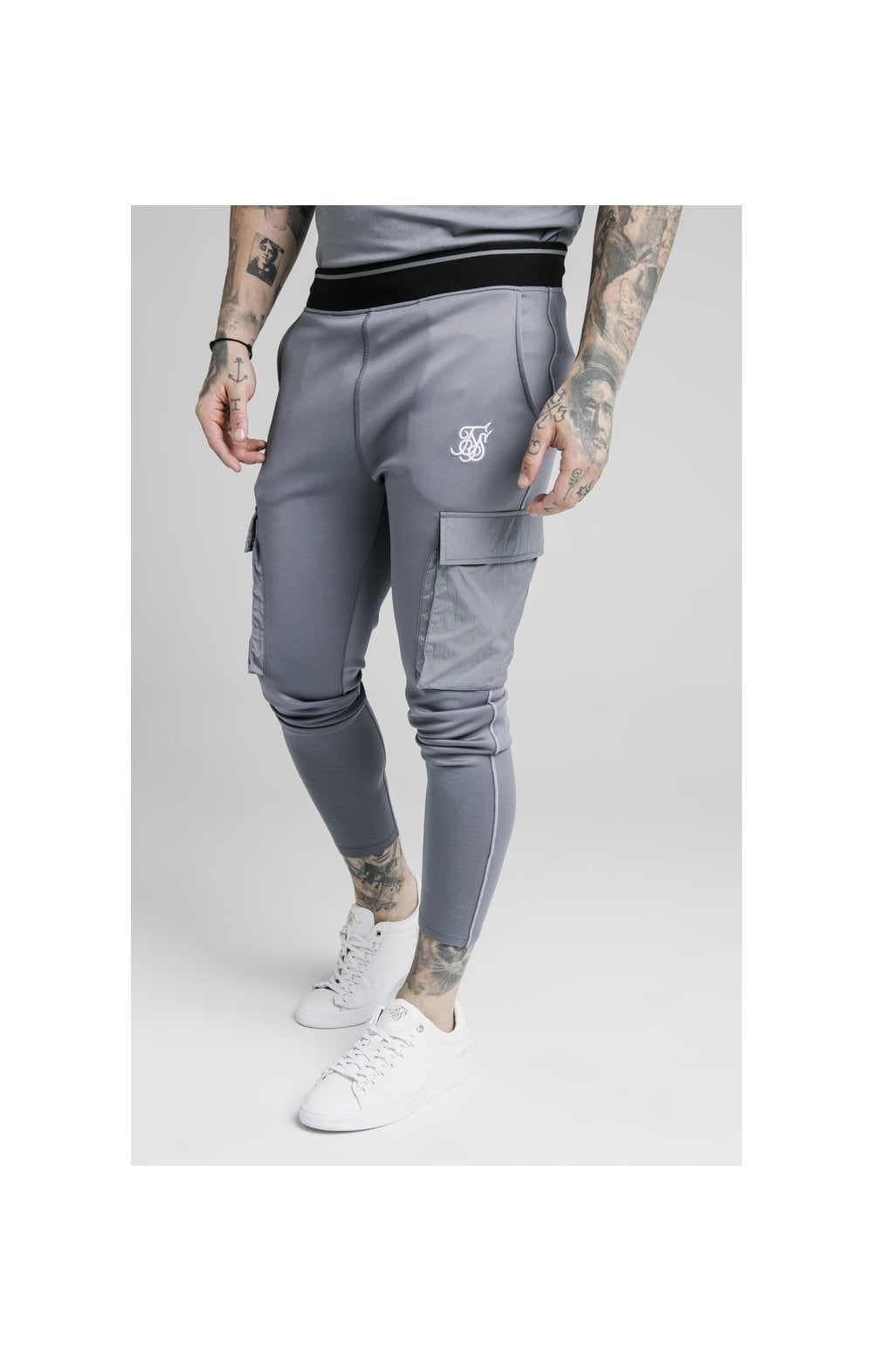 SikSilk Adapt Crushed Nylon Cargo Pant - Blue Slate