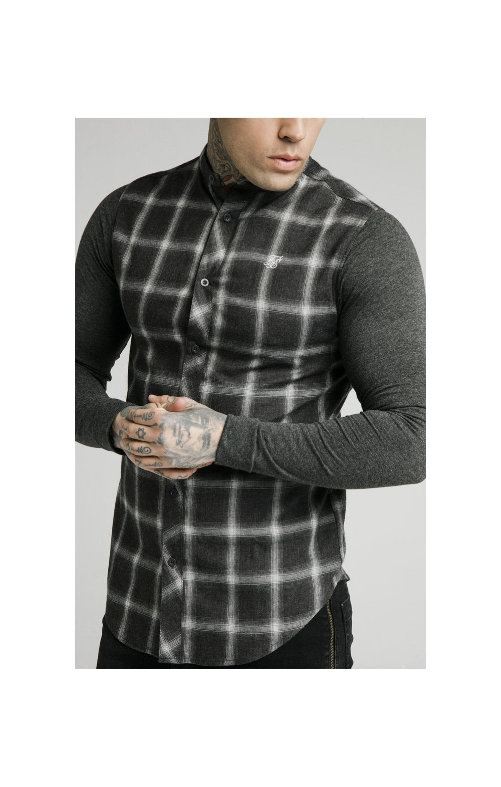 SikSilk L/S Flannel Check Grandad Shirt - Charcoal