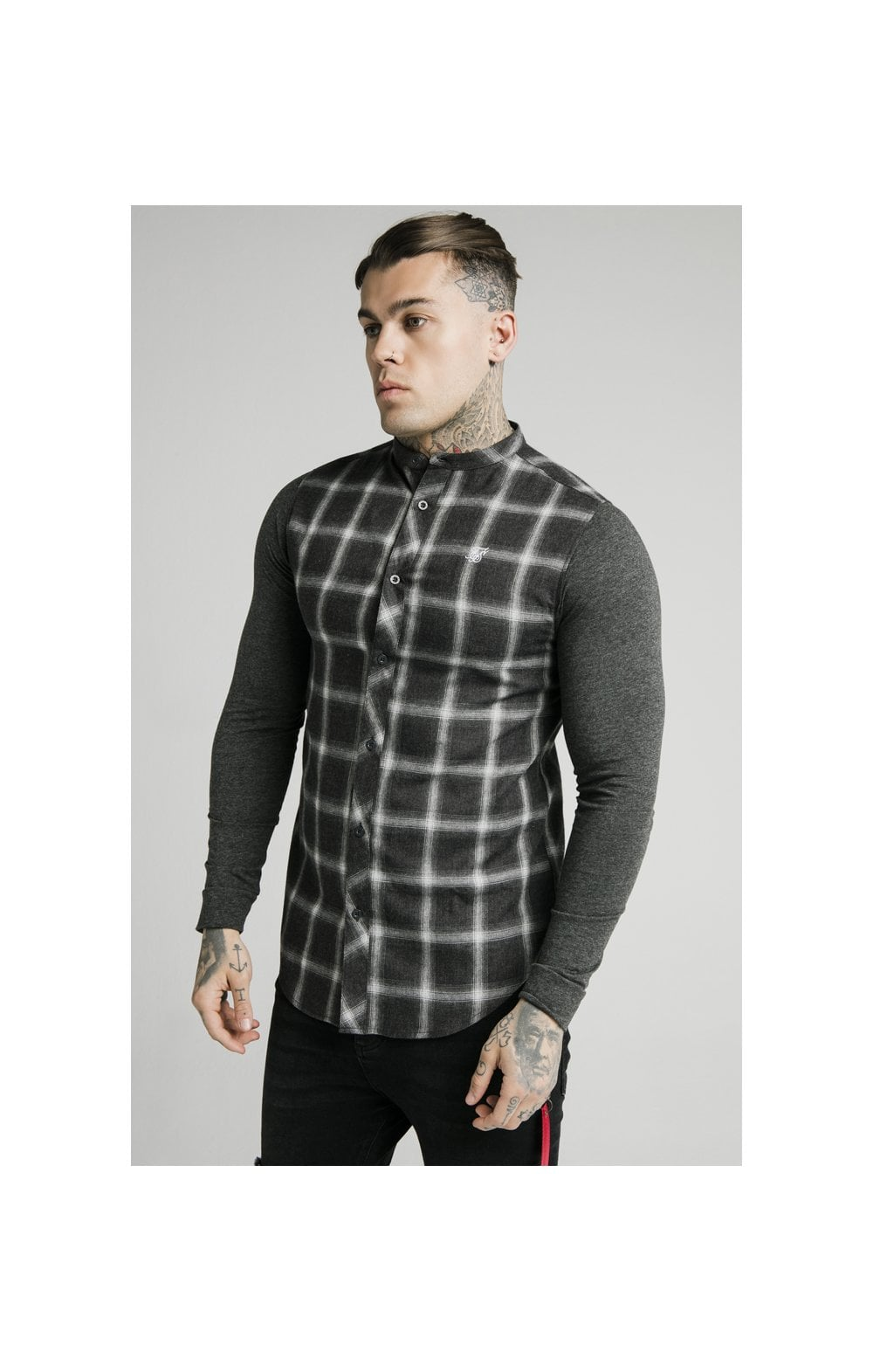 SikSilk L/S Flannel Check Grandad Shirt - Charcoal (1)