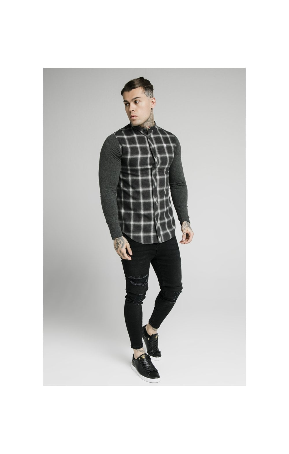 SikSilk L/S Flannel Check Grandad Shirt - Charcoal (2)