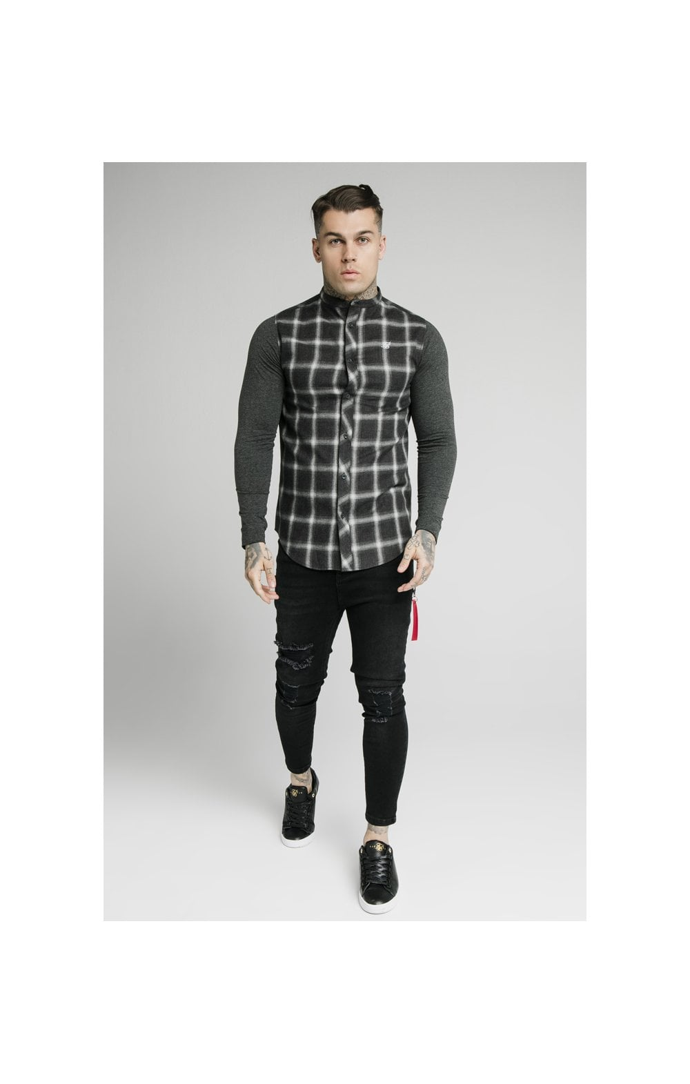 SikSilk L/S Flannel Check Grandad Shirt - Charcoal (3)