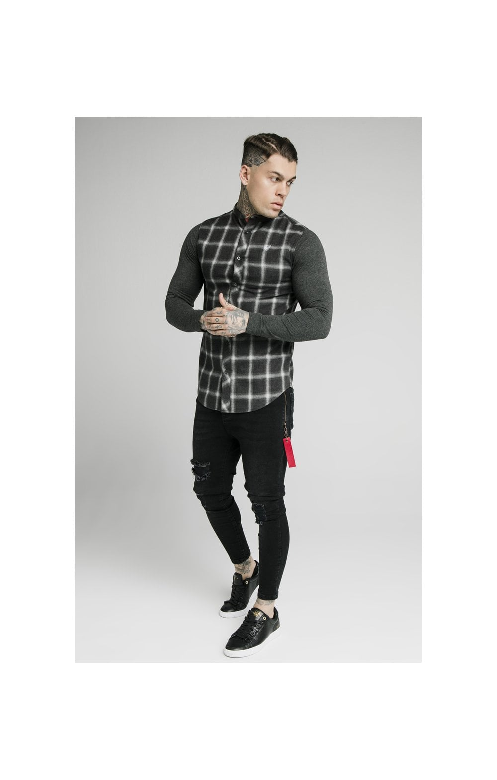 SikSilk L/S Flannel Check Grandad Shirt - Charcoal (4)