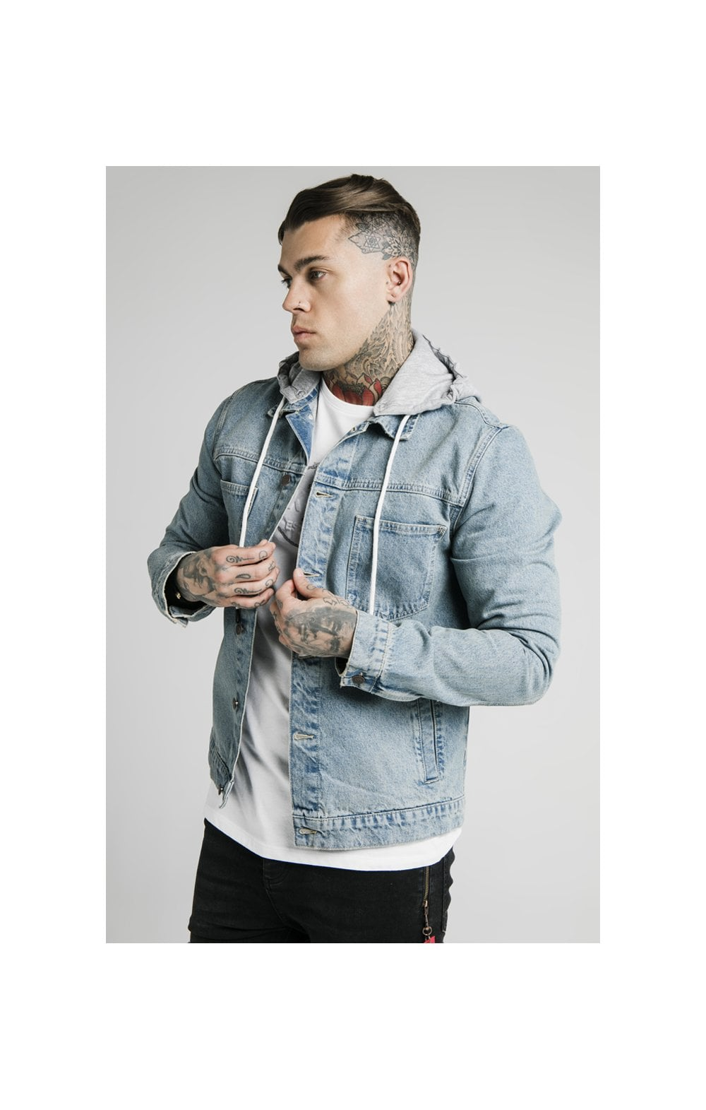 SikSilk Hooded Denim Jacket - Light Blue Wash
