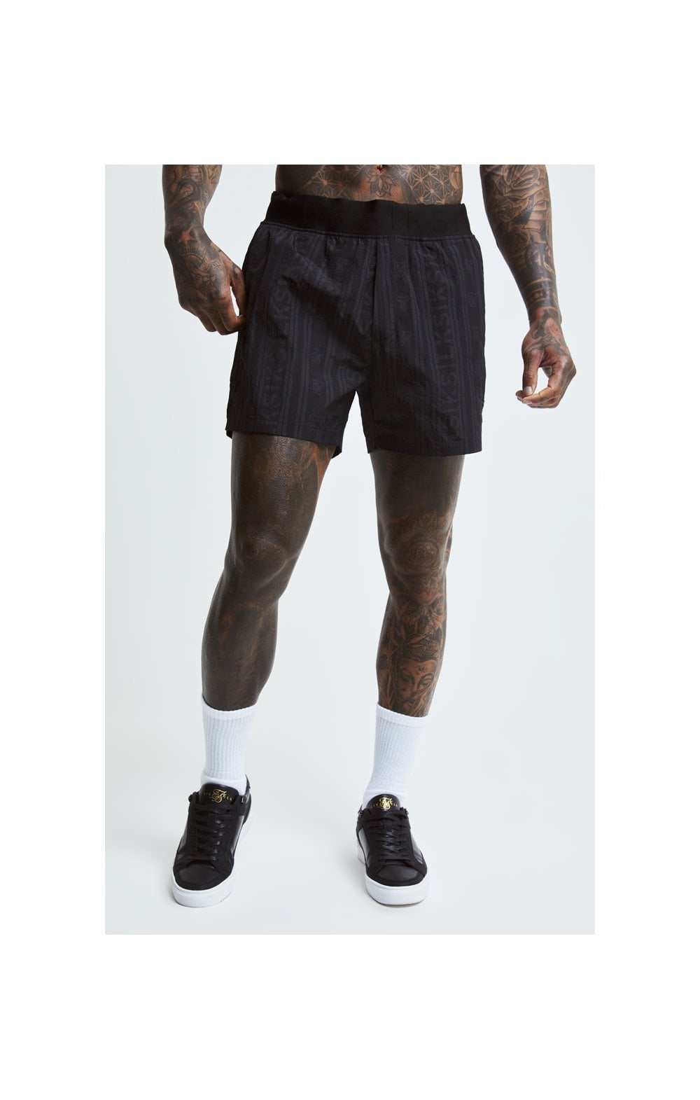 SikSilk Swim Shorts – Black & Grey