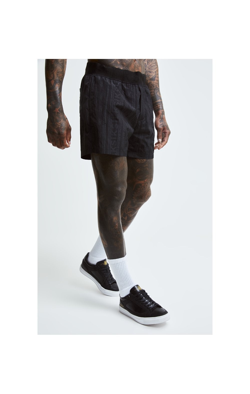 SikSilk Swim Shorts – Black & Grey (1)