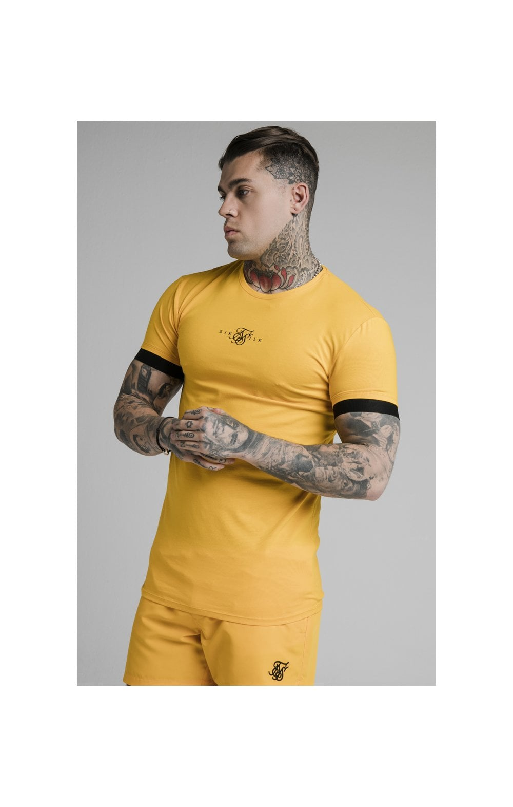 SikSilk Inset Elastic Cuff Gym Tee – Yellow (1)