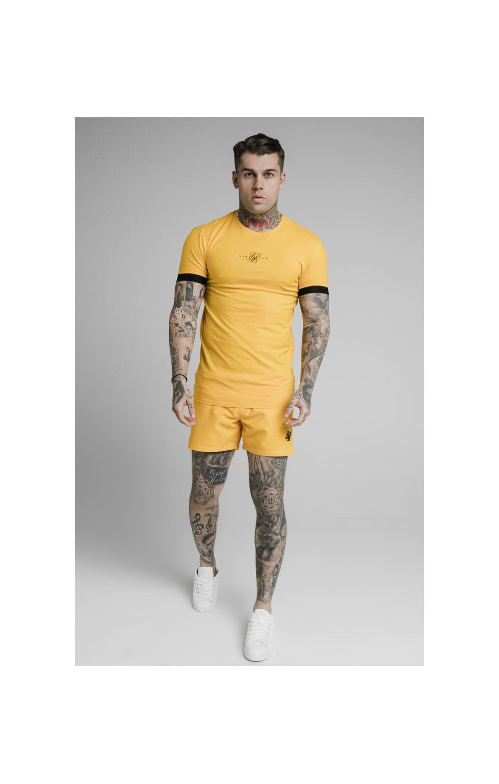 SikSilk Inset Elastic Cuff Gym Tee – Yellow (2)