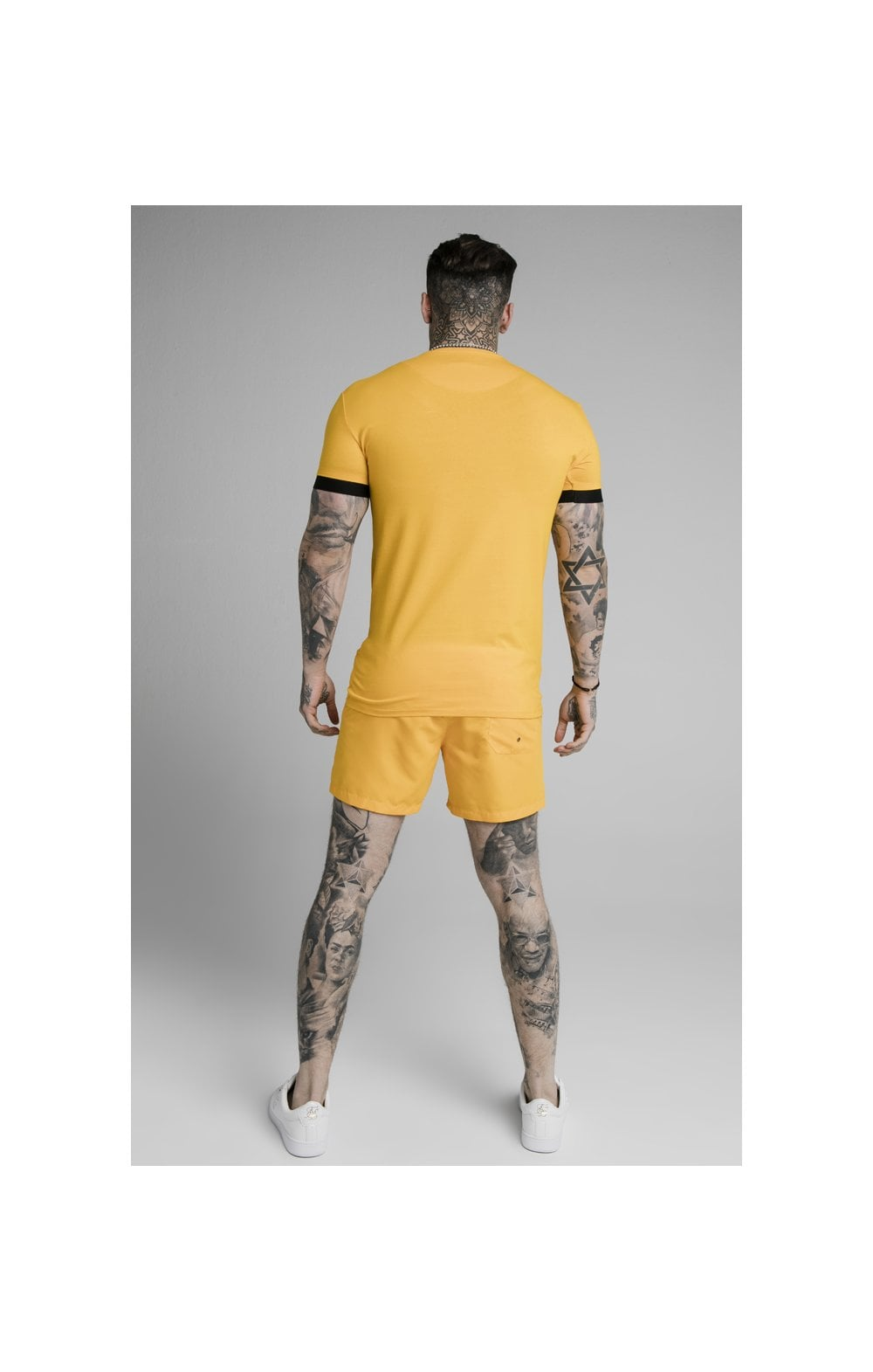 SikSilk Inset Elastic Cuff Gym Tee – Yellow (4)