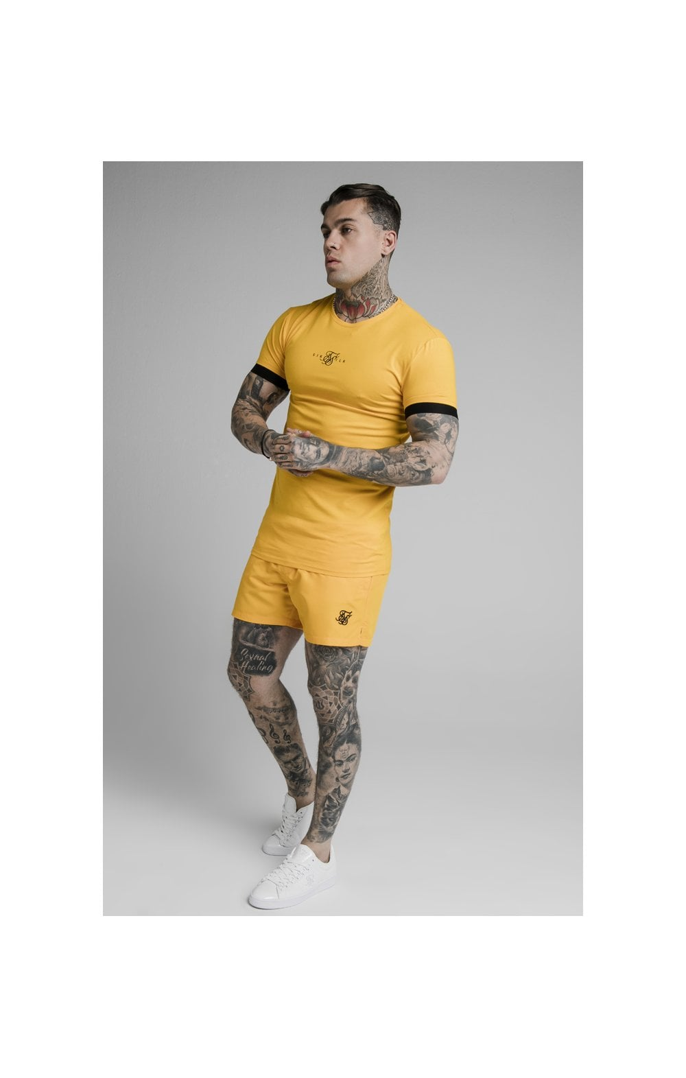 SikSilk Inset Elastic Cuff Gym Tee – Yellow (3)