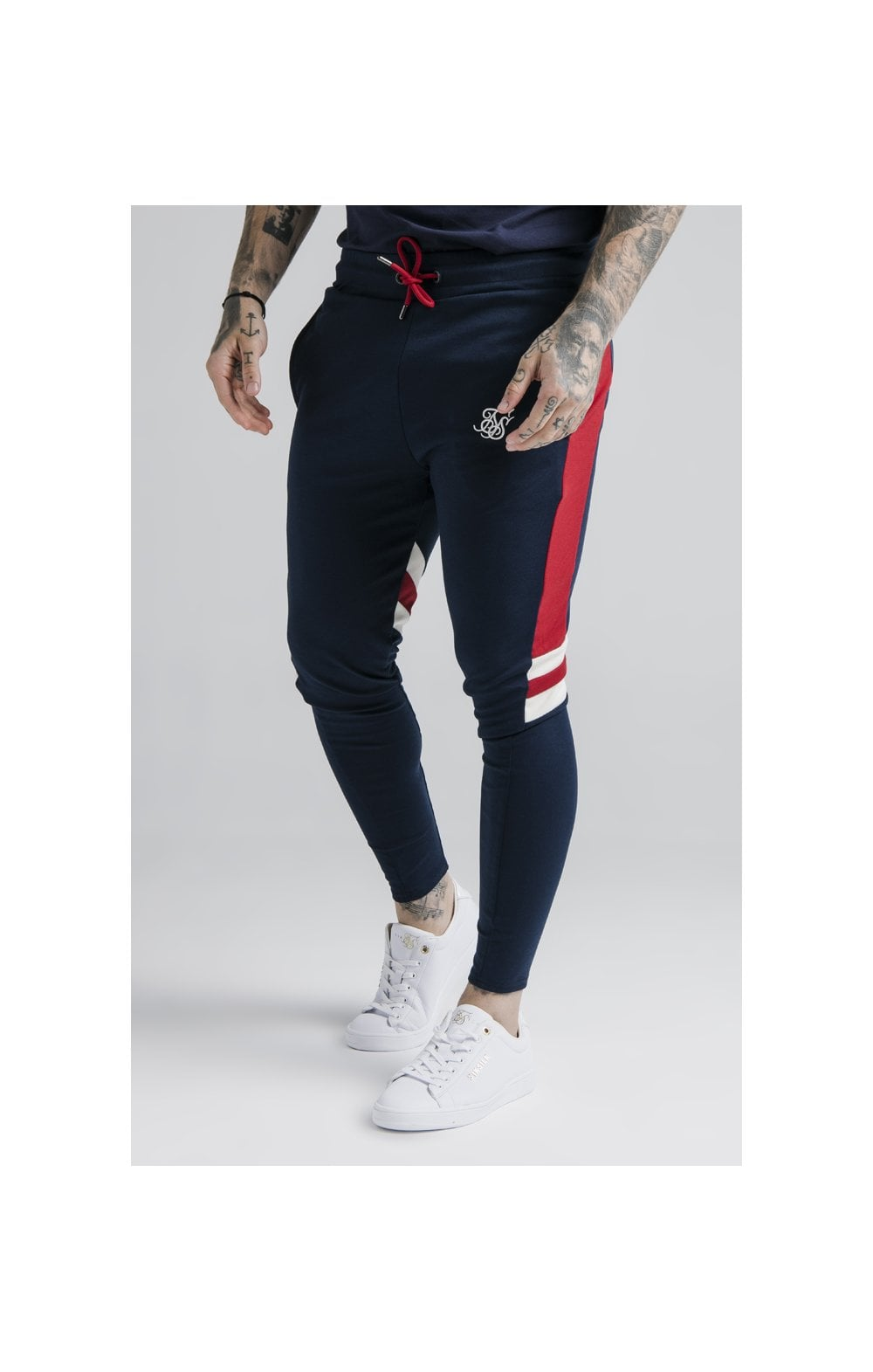 SikSilk Retro Panel Track Pants - Navy, Red & Off White