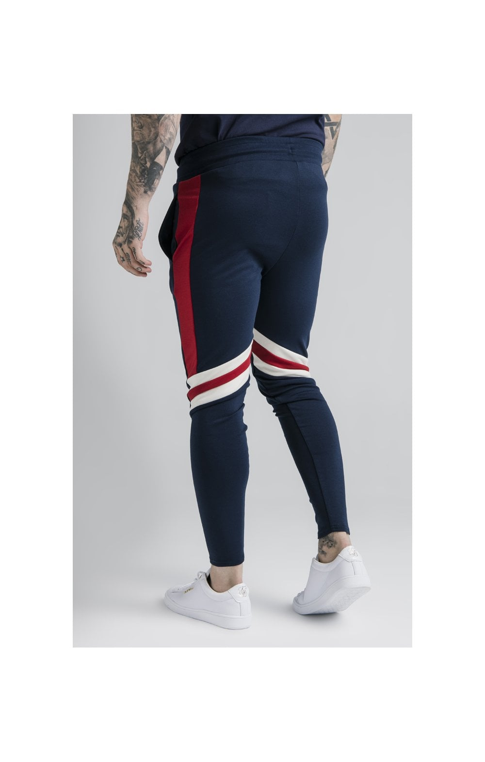 SikSilk Retro Panel Track Pants - Navy, Red & Off White (1)
