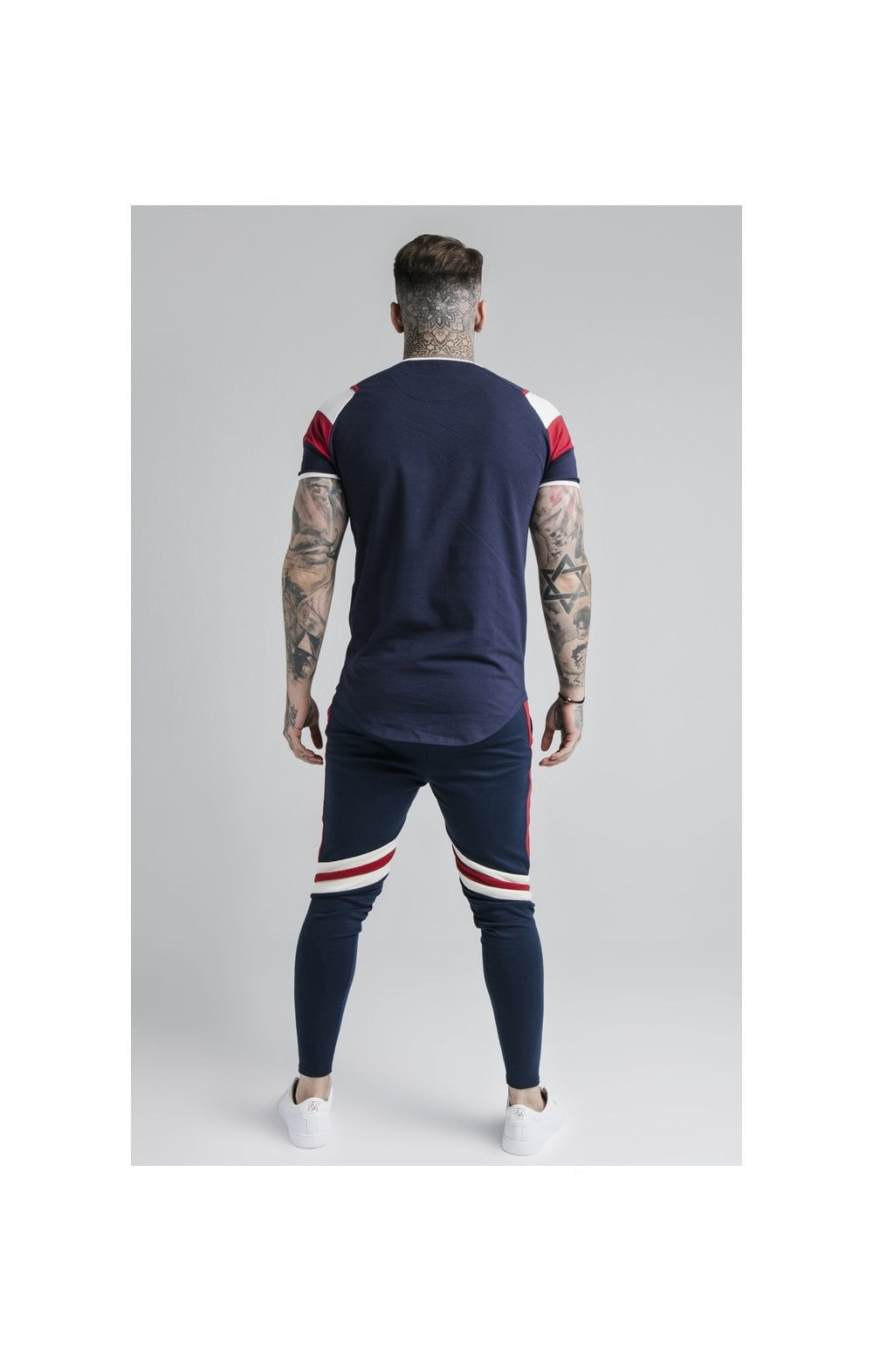 SikSilk Retro Panel Track Pants - Navy, Red & Off White (3)