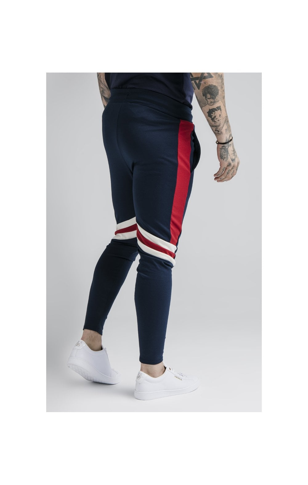 SikSilk Retro Panel Track Pants - Navy, Red & Off White (4)
