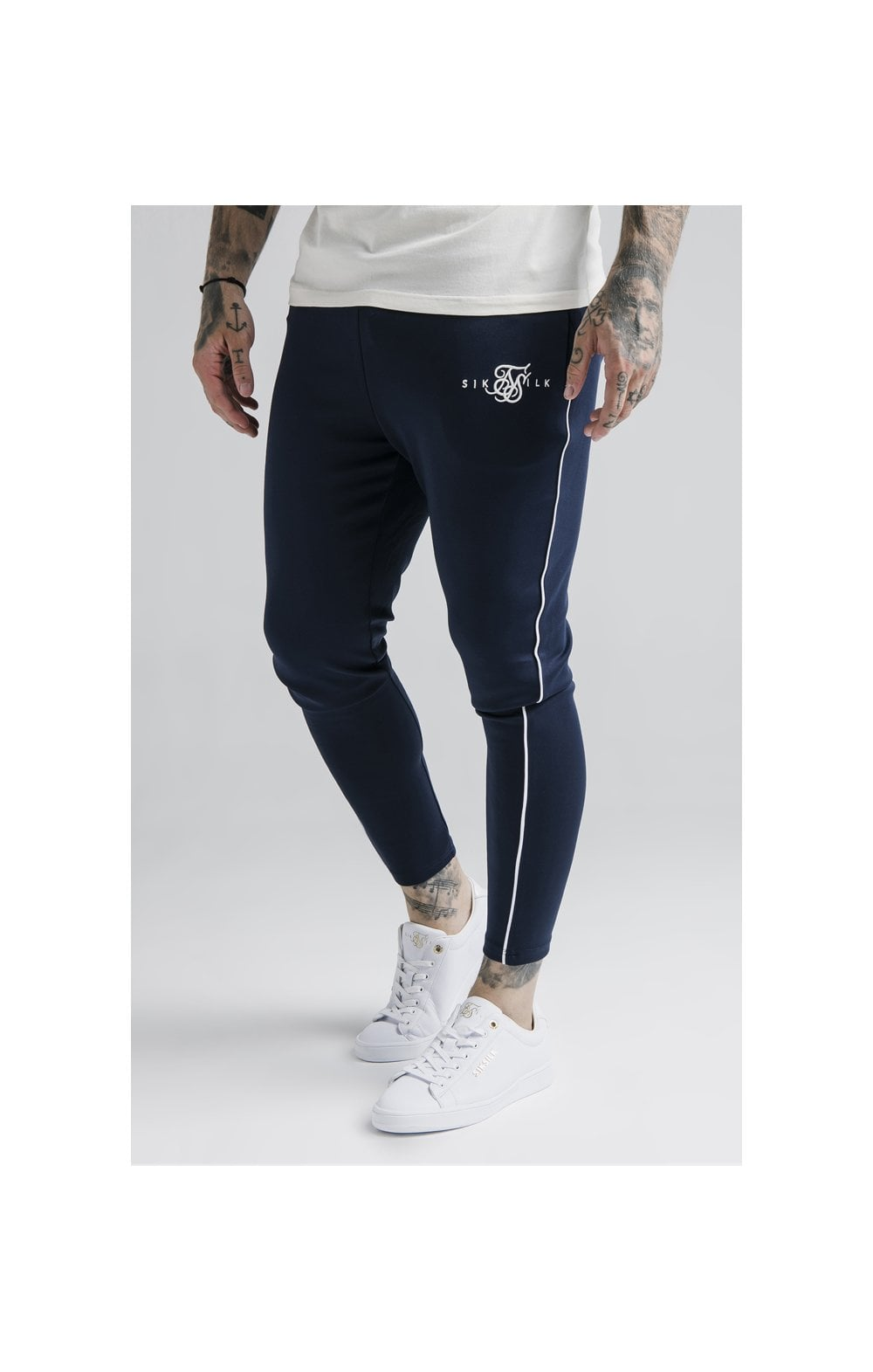 SikSilk Agility Deluxe Track Pants - Navy & Off White