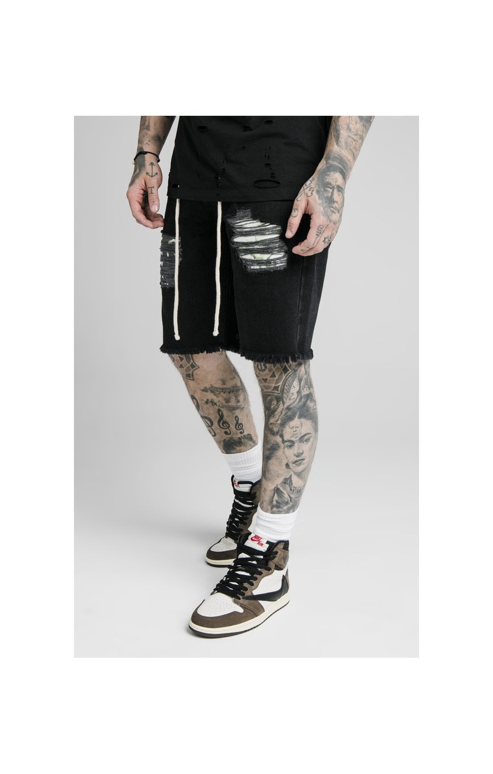 SikSilk Relaxed Floral Pixel Denim Shorts – Washed Black