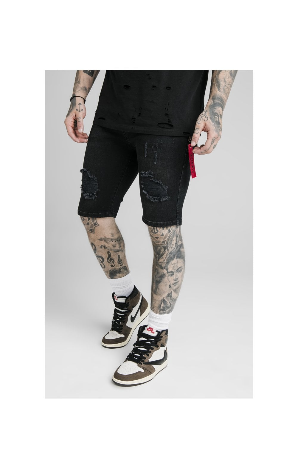 SikSilk Distressed Denim Flight Shorts – Washed Black
