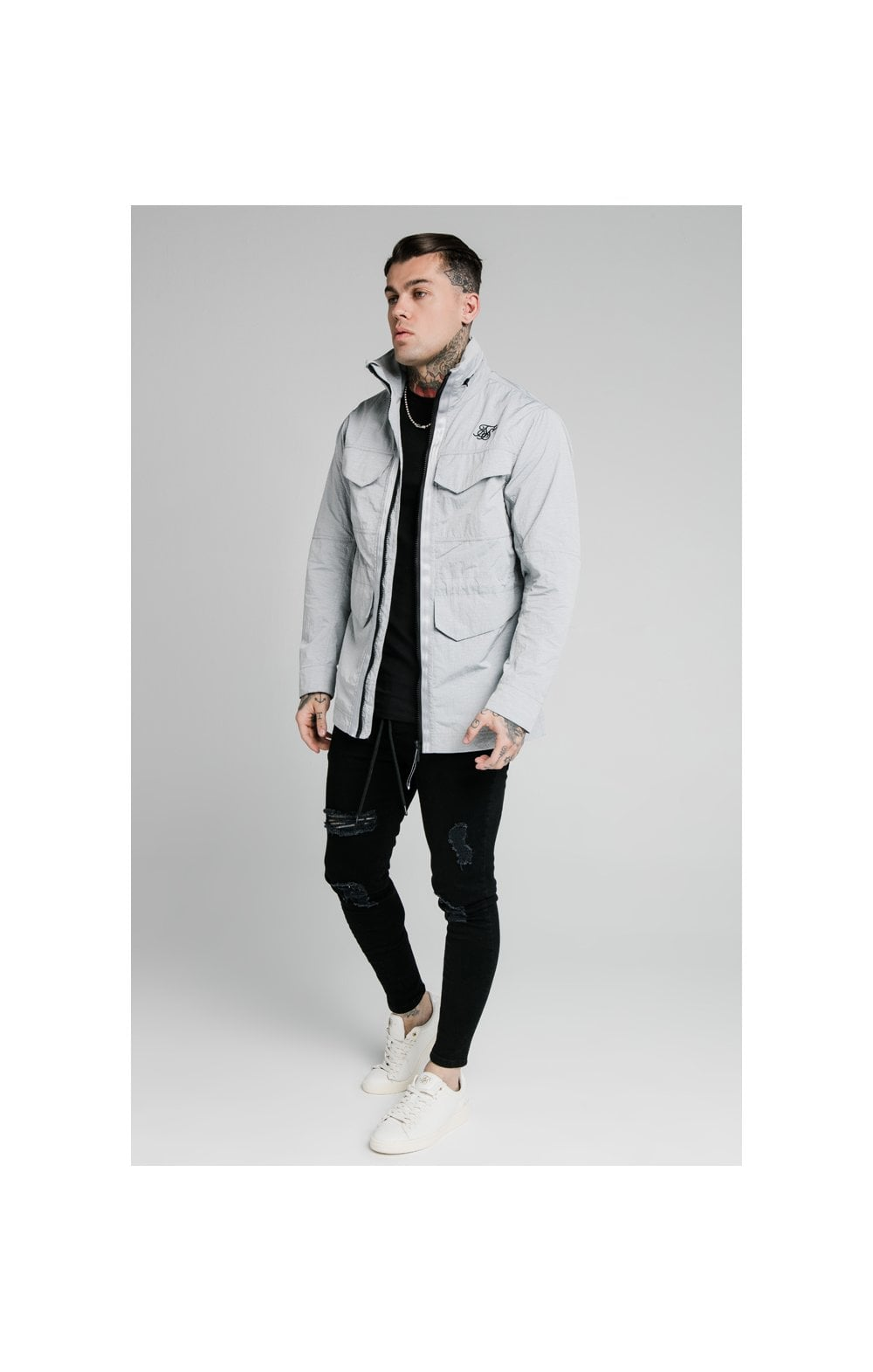 SikSilk Leightweight Zip Jacket - Ice Grey