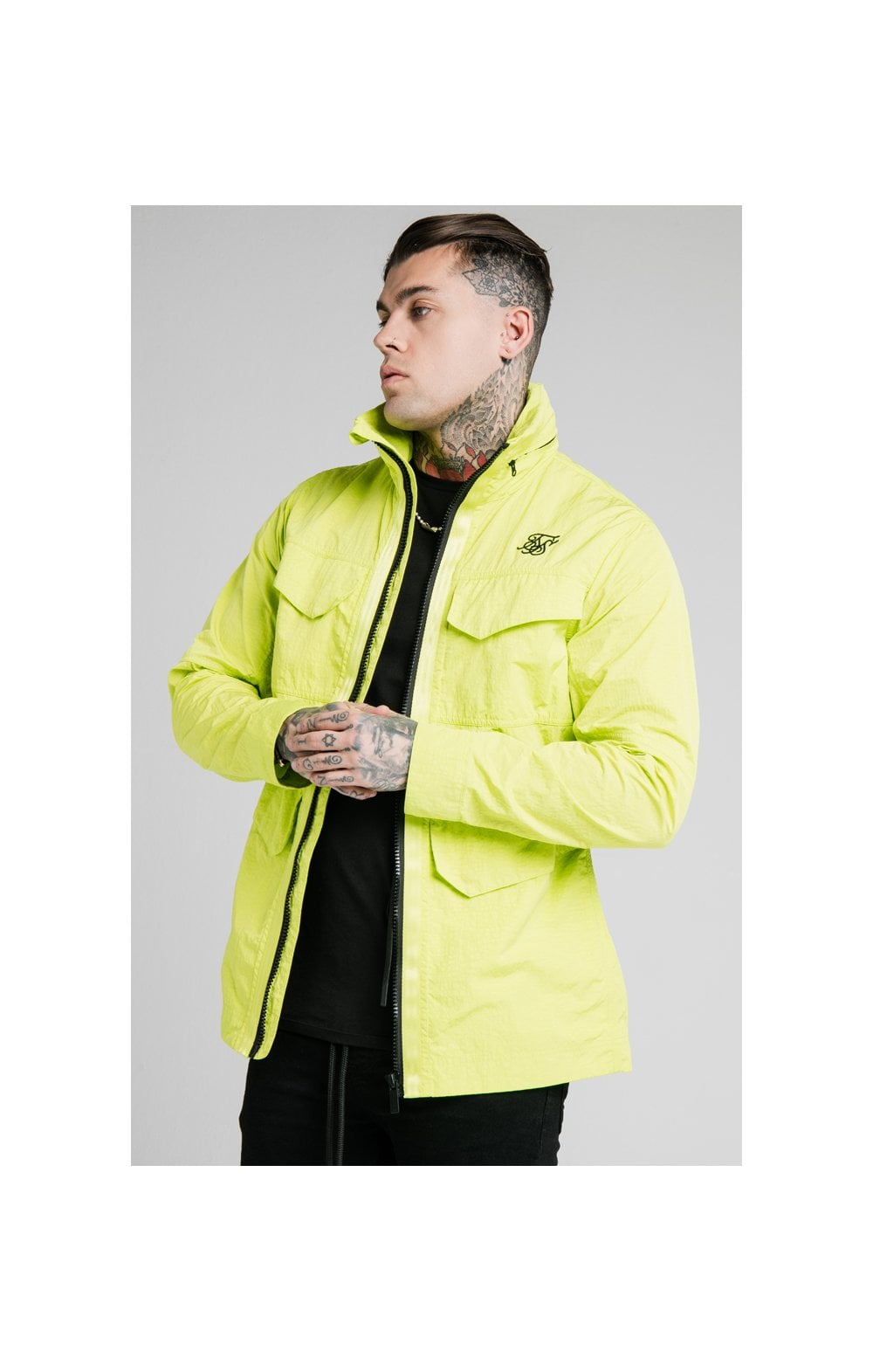 SikSilk Leightweight Zip Jacket - Fluro Green