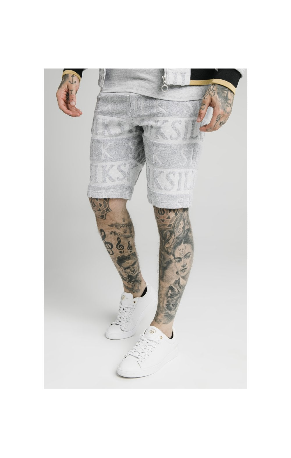 SikSilk Inverse Gym Shorts - Grey, Black & Gold
