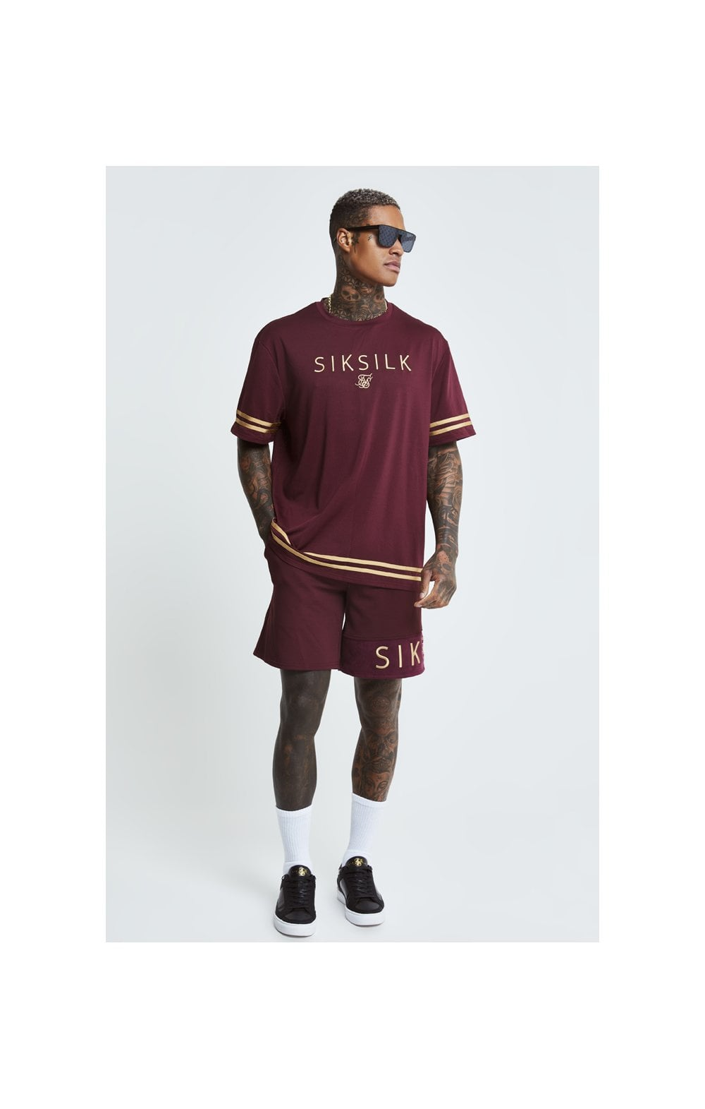 SikSilk S/S Signature Oversize Essentials Tee - Burgundy & Gold (2)