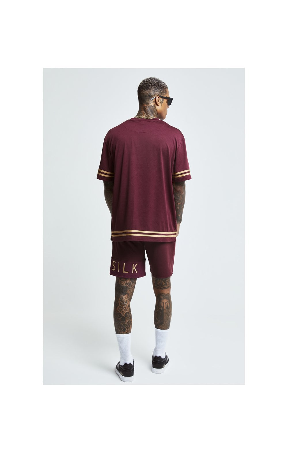 SikSilk S/S Signature Oversize Essentials Tee - Burgundy & Gold (3)