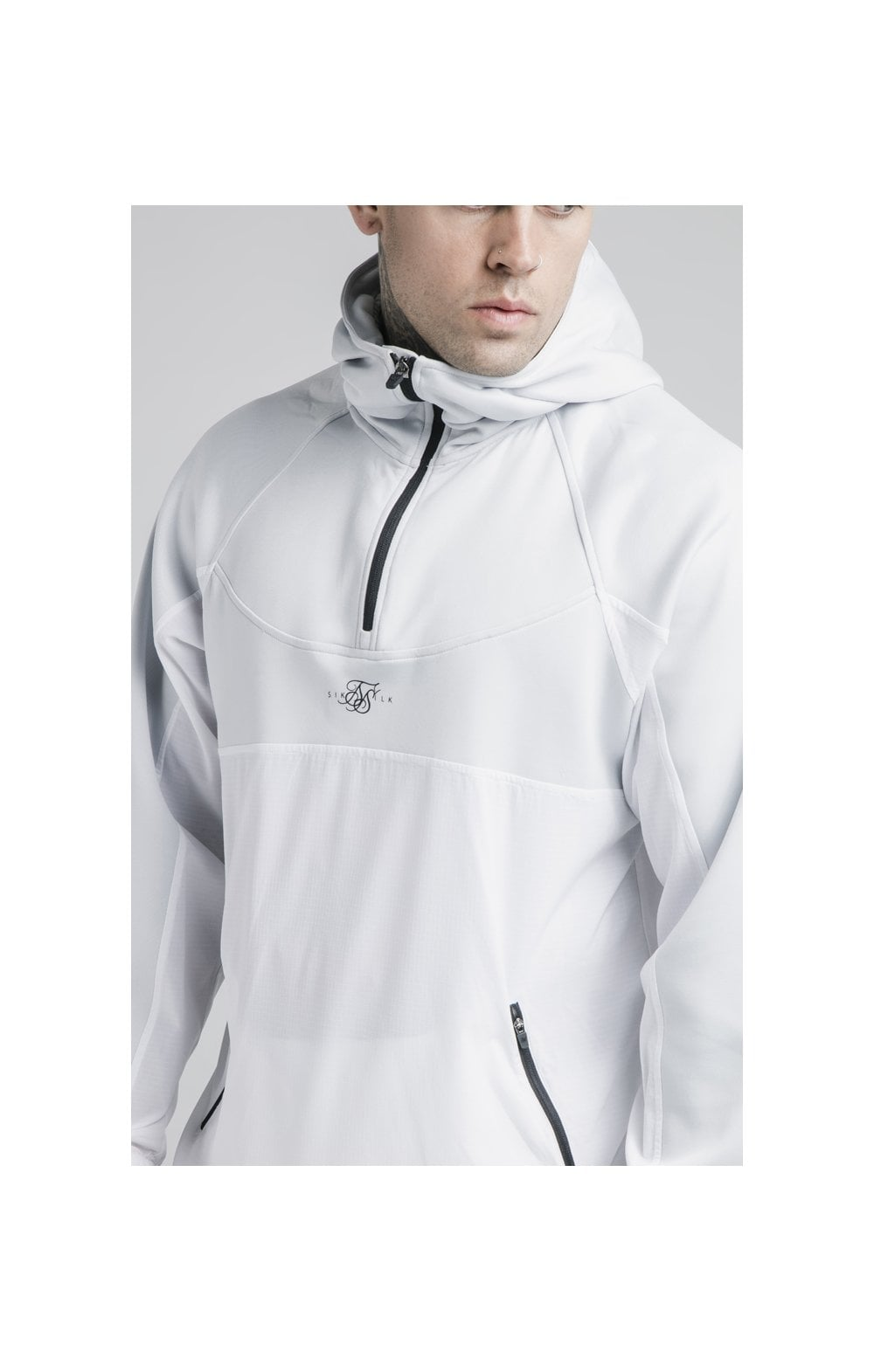 SikSilk Tranquil Quarter Zip Vent Hoodie - Light Blue & White