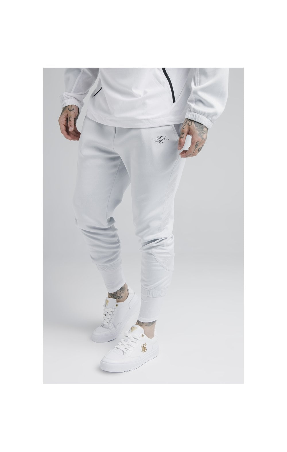 SikSilk Tranquil Dual Cuff Pants - Light Blue & White