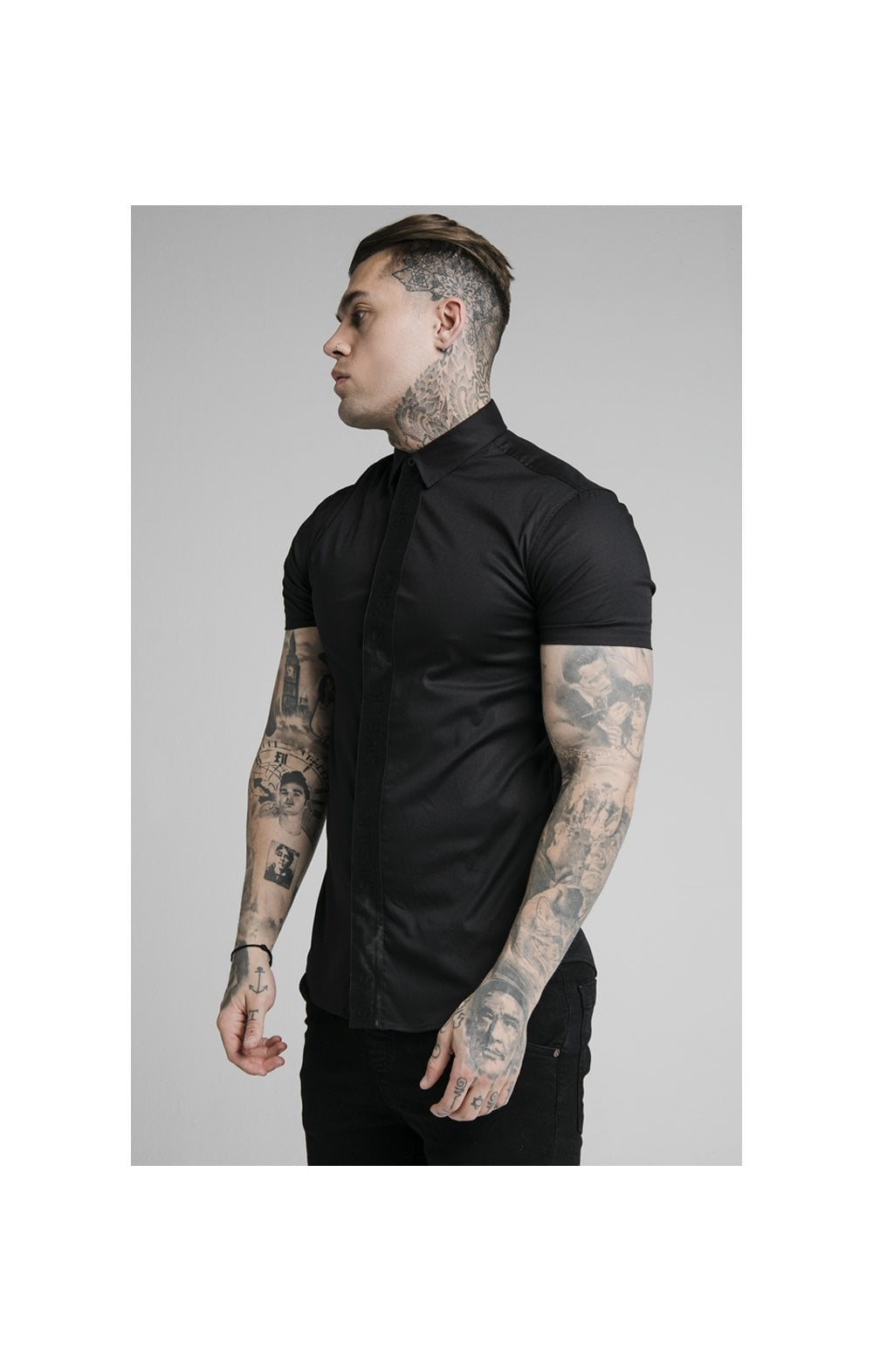 SikSilk S/S Woven Tape Placket Shirt - Black (1)