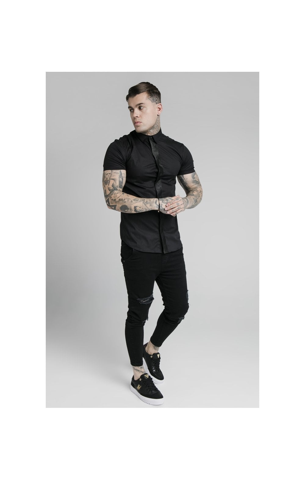 SikSilk S/S Woven Tape Placket Shirt - Black (2)