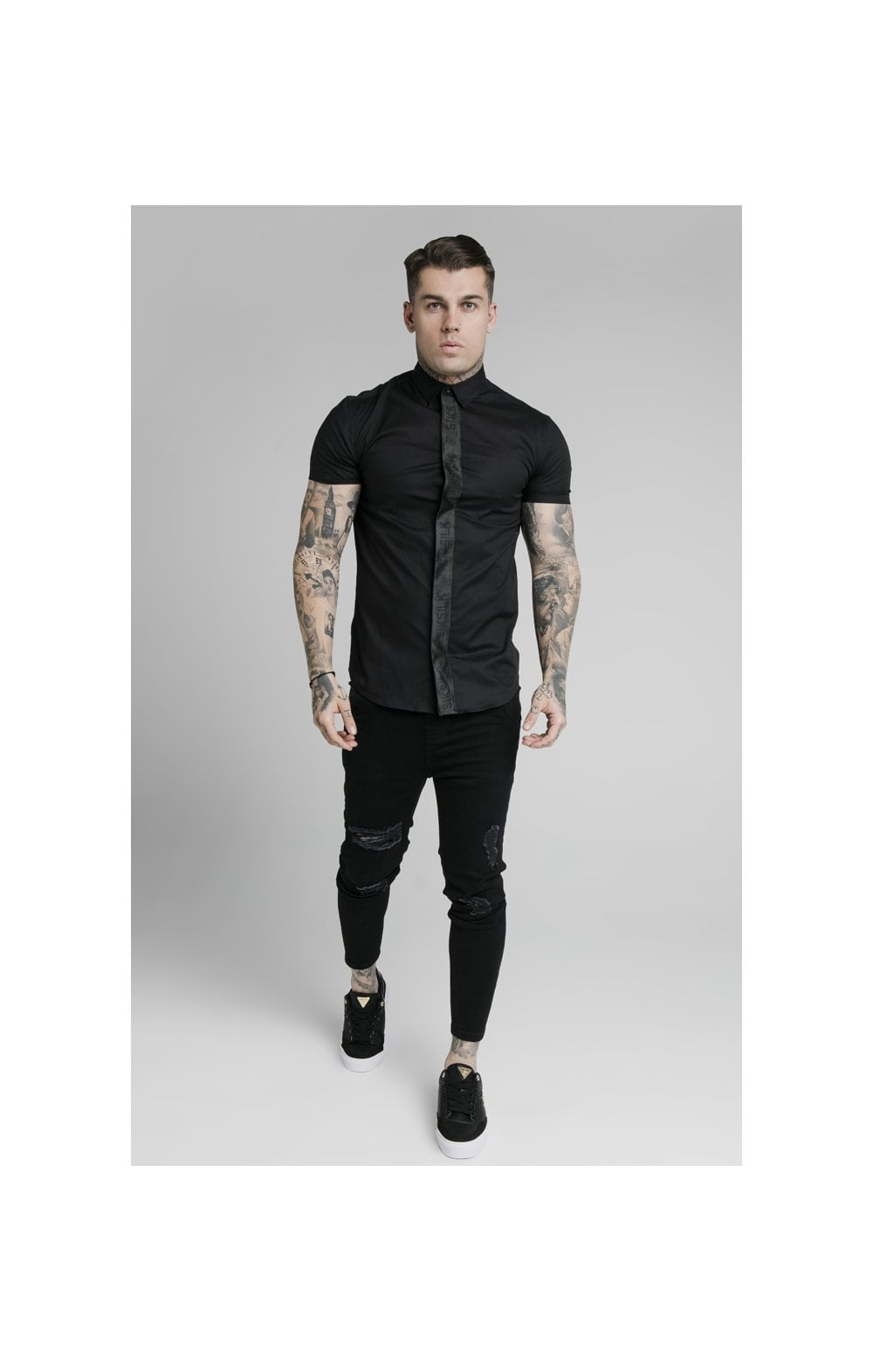 Load image into Gallery viewer, SikSilk S/S Woven Tape Placket Shirt - Black (4)