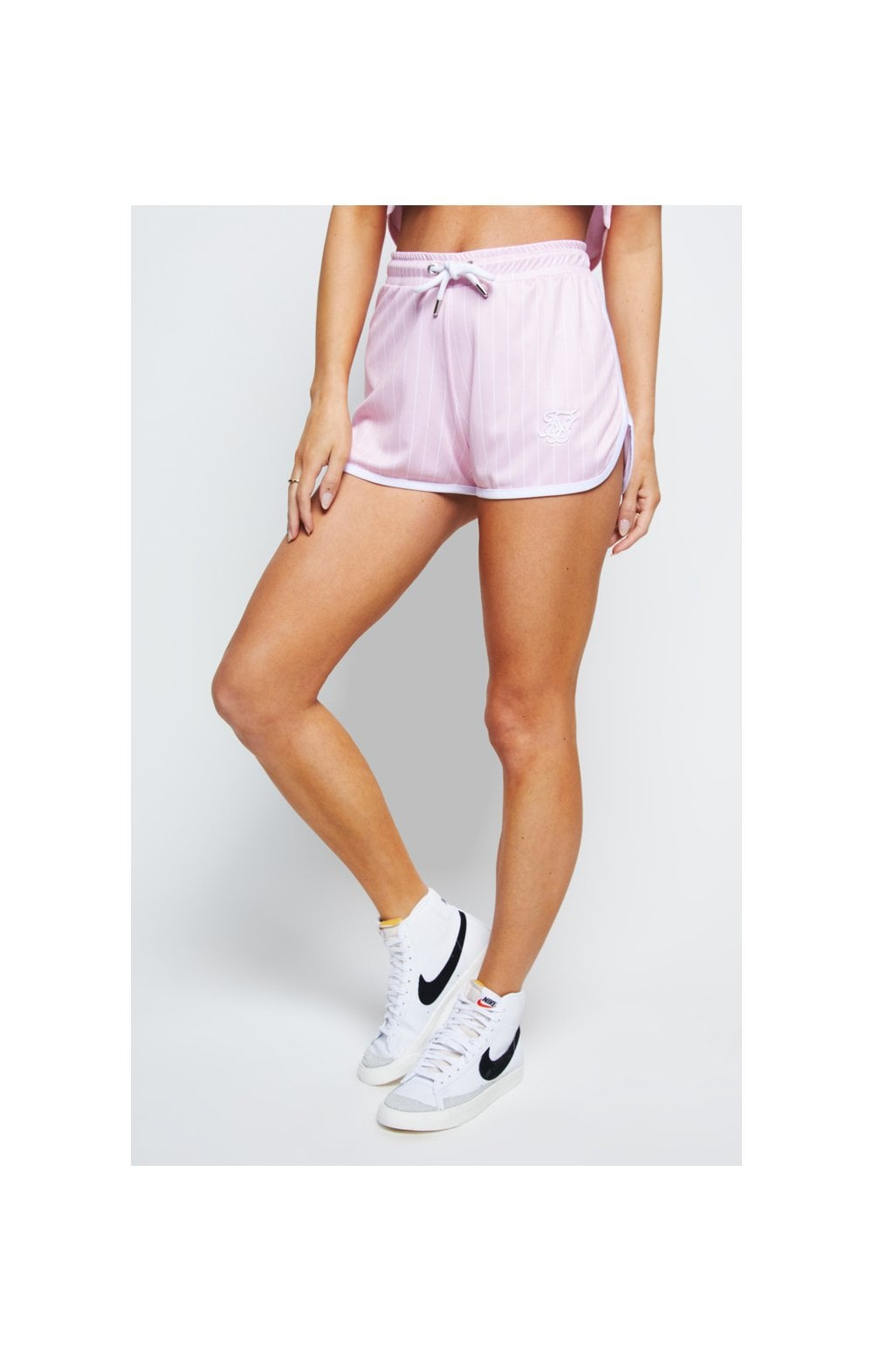 Load image into Gallery viewer, SikSilk Baseball Stripe Shorts – Pink & White (1)