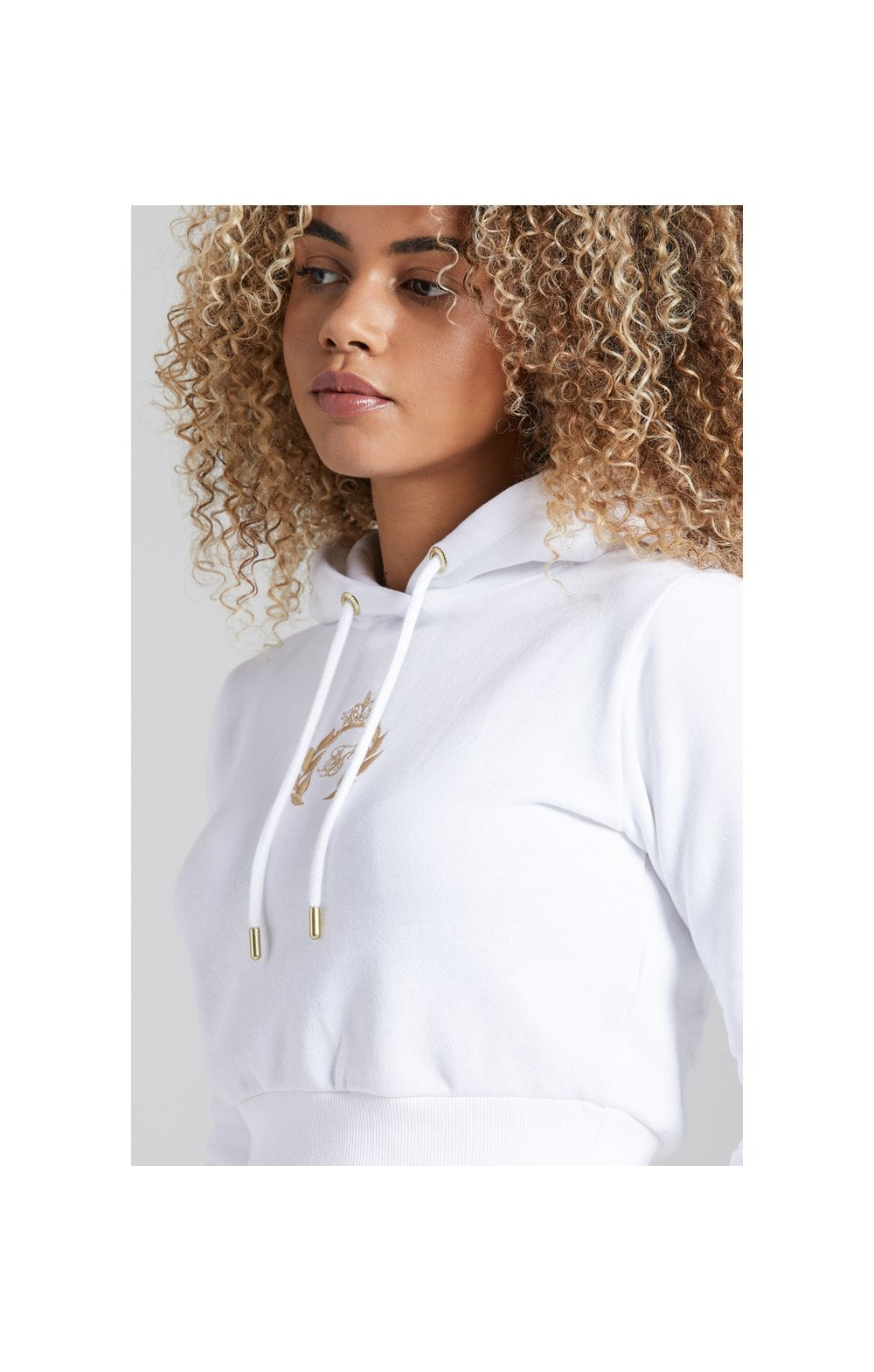 Load image into Gallery viewer, SikSilk Prestige Cropped Hoodie - White (1)
