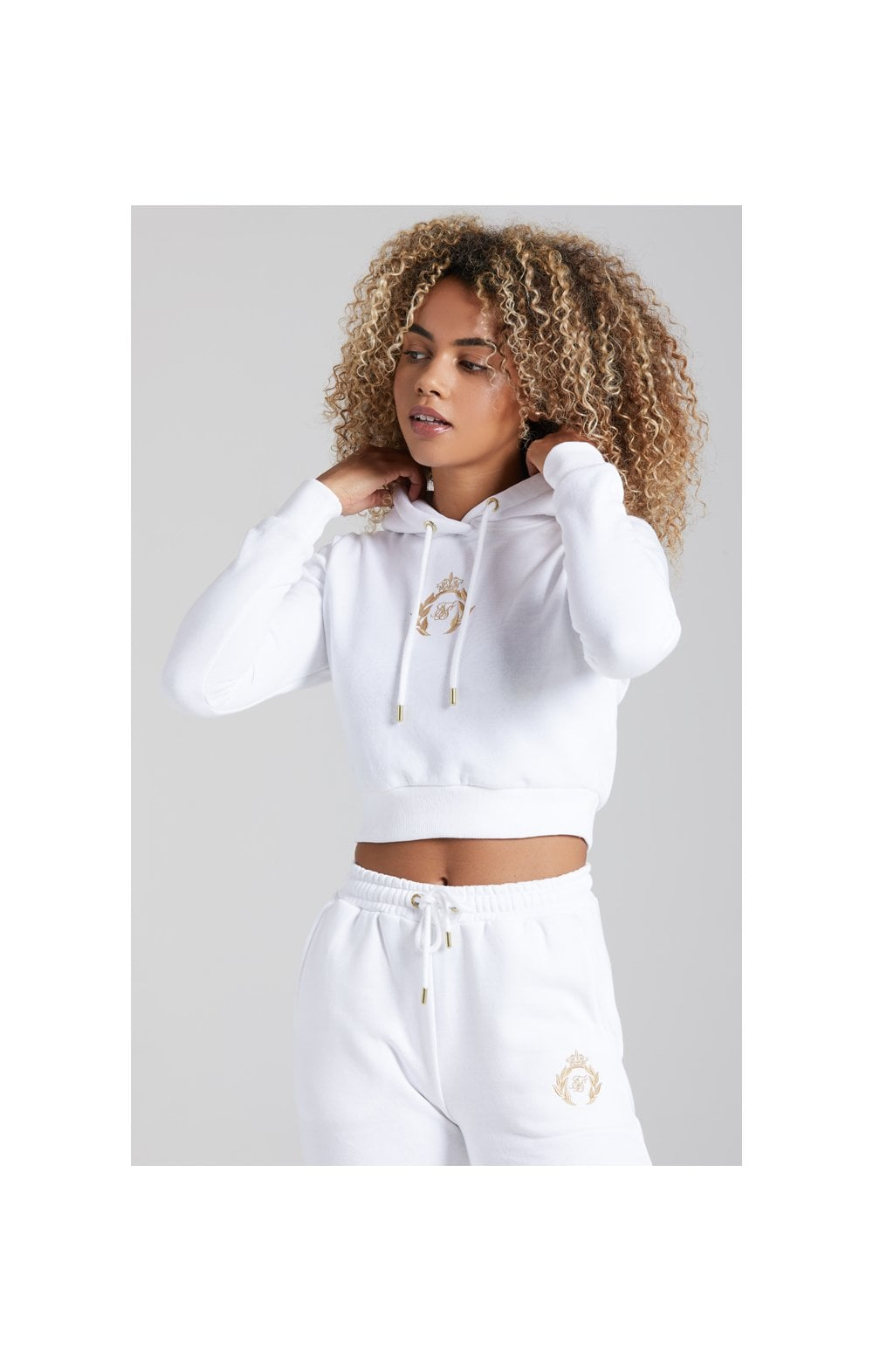 Load image into Gallery viewer, SikSilk Prestige Cropped Hoodie - White (2)