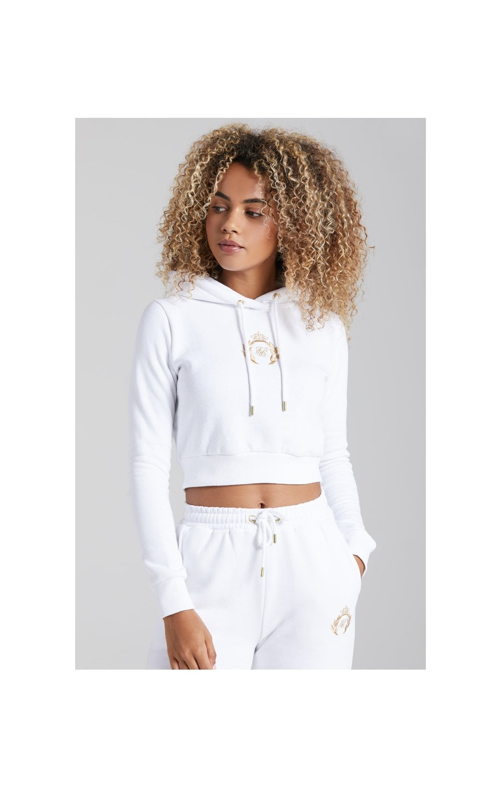 Load image into Gallery viewer, SikSilk Prestige Cropped Hoodie - White (3)