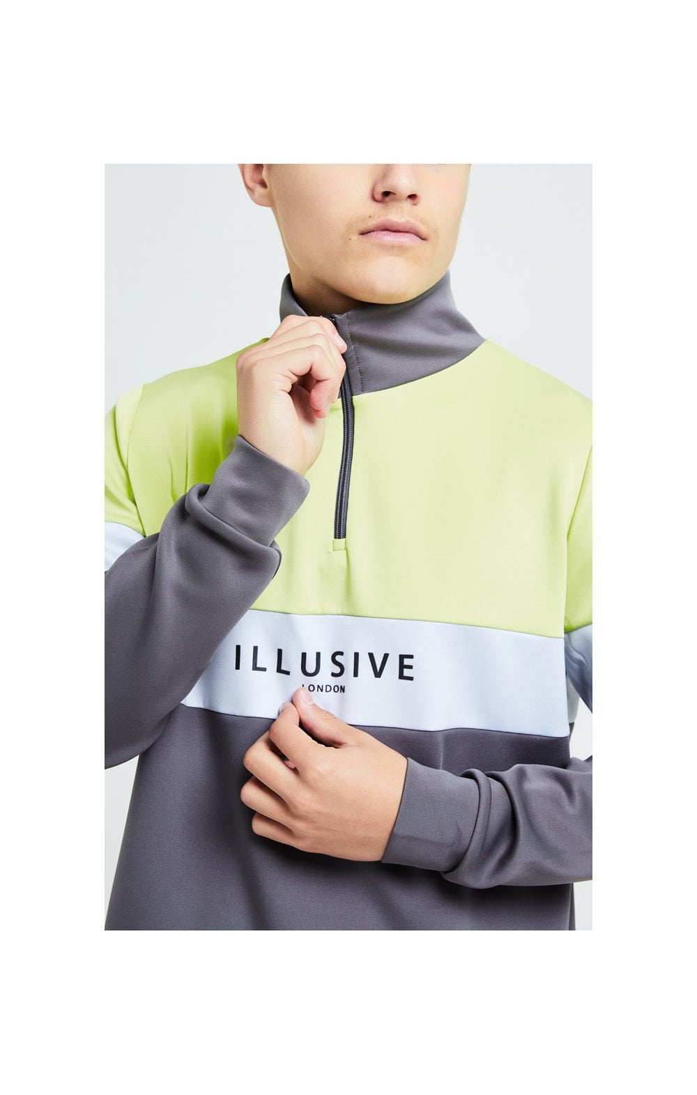 Illusive London Blaze Quarter Zip Hoodie - Dark Grey & Lime (1)