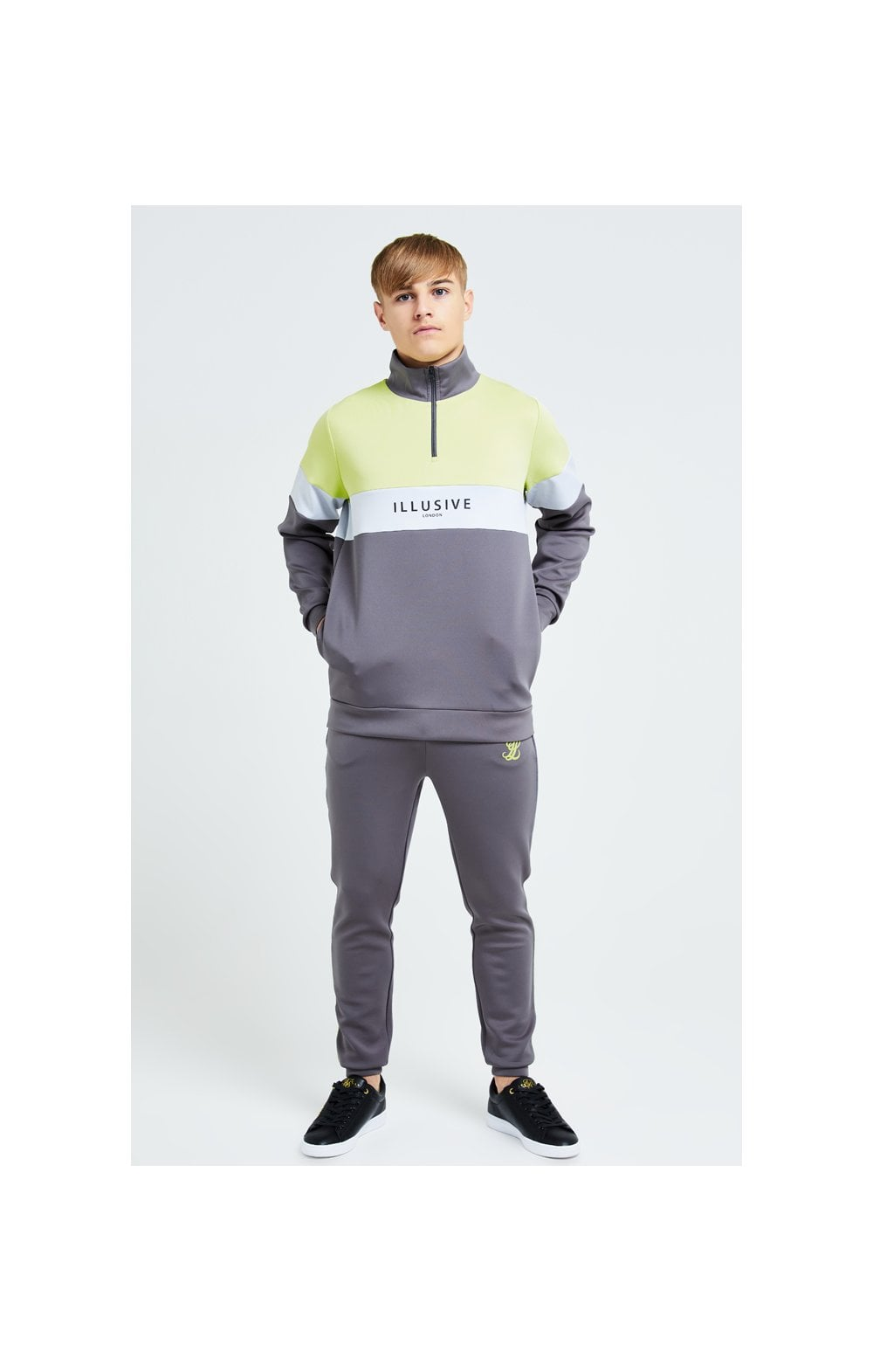 Load image into Gallery viewer, Illusive London Blaze Quarter Zip Hoodie - Dark Grey & Lime (4)