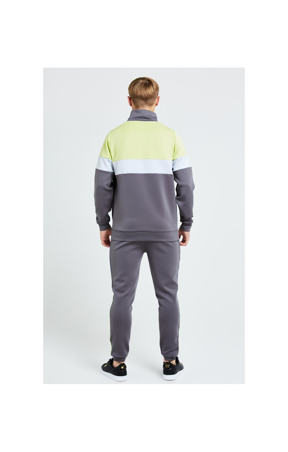 Load image into Gallery viewer, Illusive London Blaze Quarter Zip Hoodie - Dark Grey & Lime (5)