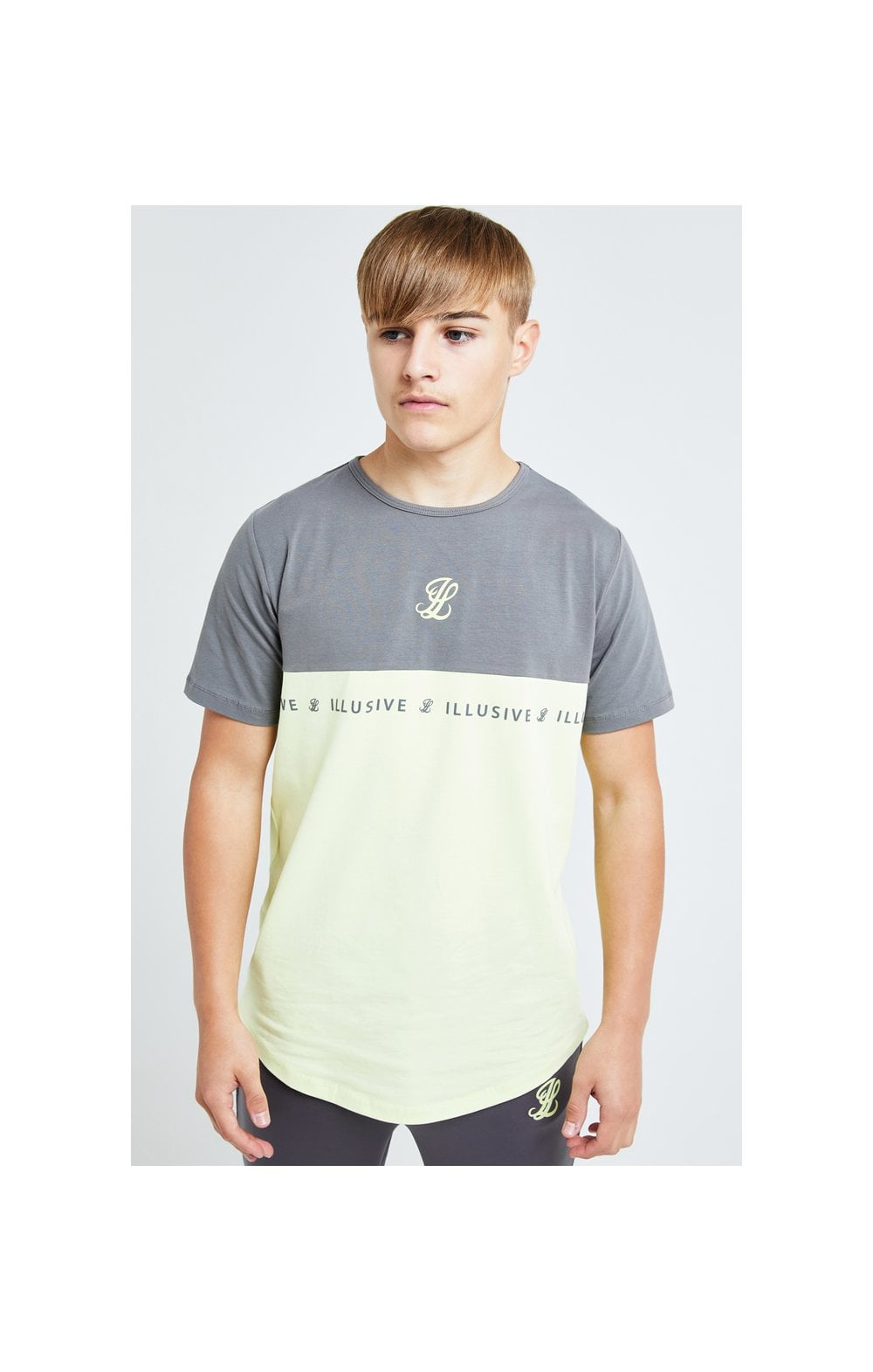 Illusive London Blaze Cut & Sew Tee - Dark Grey & Lime