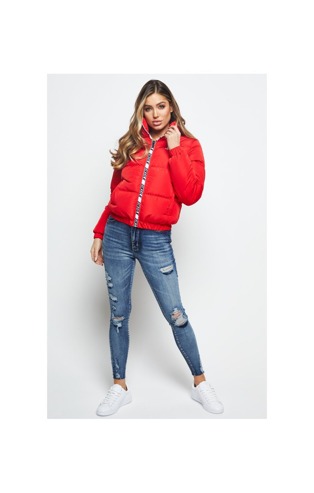 SikSilk Padded Crop Jacket - Red (3)