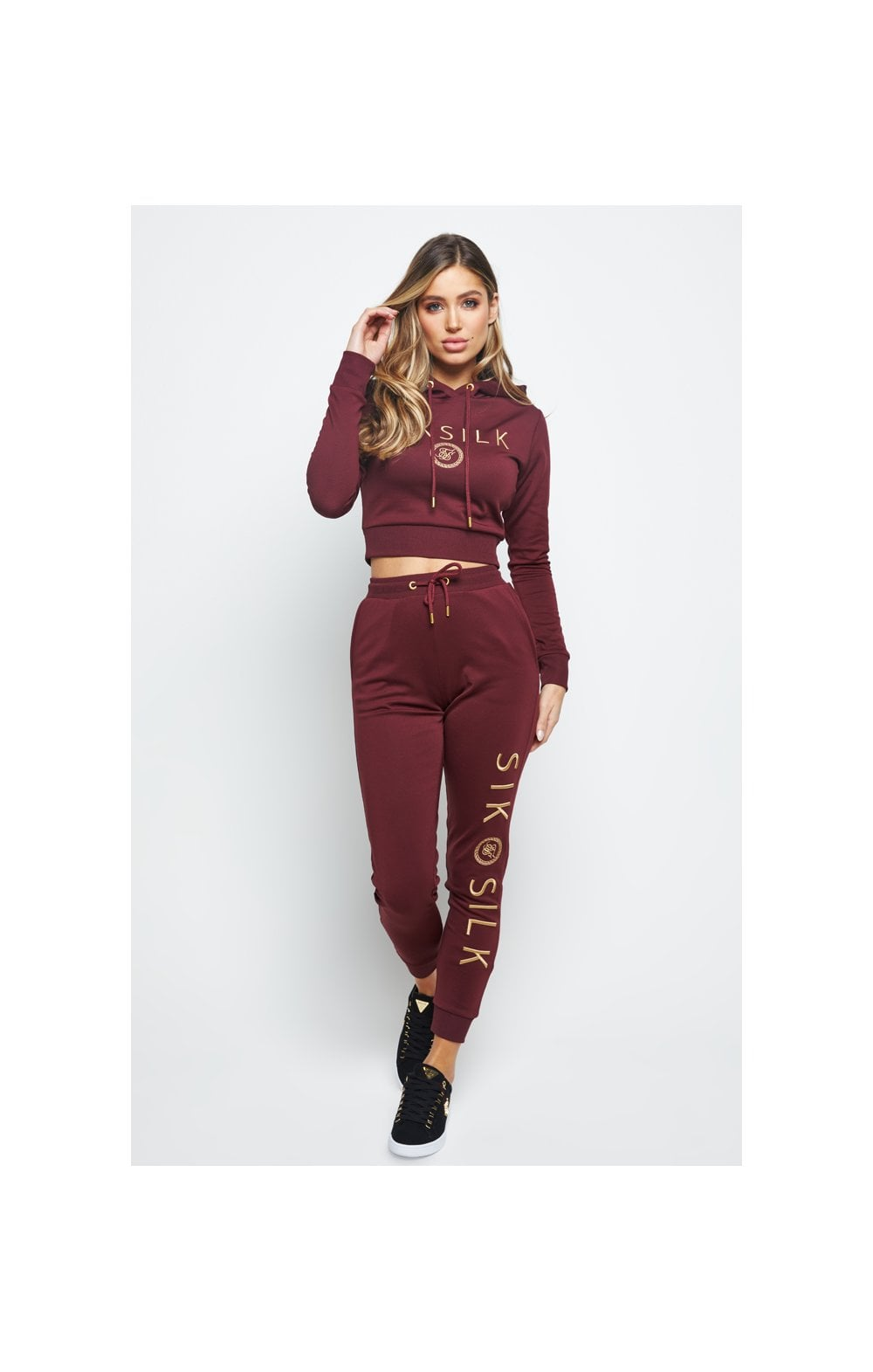 Load image into Gallery viewer, SikSilk Eyelet Mesh Track Top - Burgundy (4)