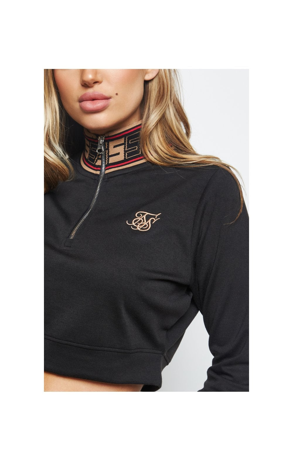 SikSilk Distinction Quarter Zip Crop Hoodie - Black