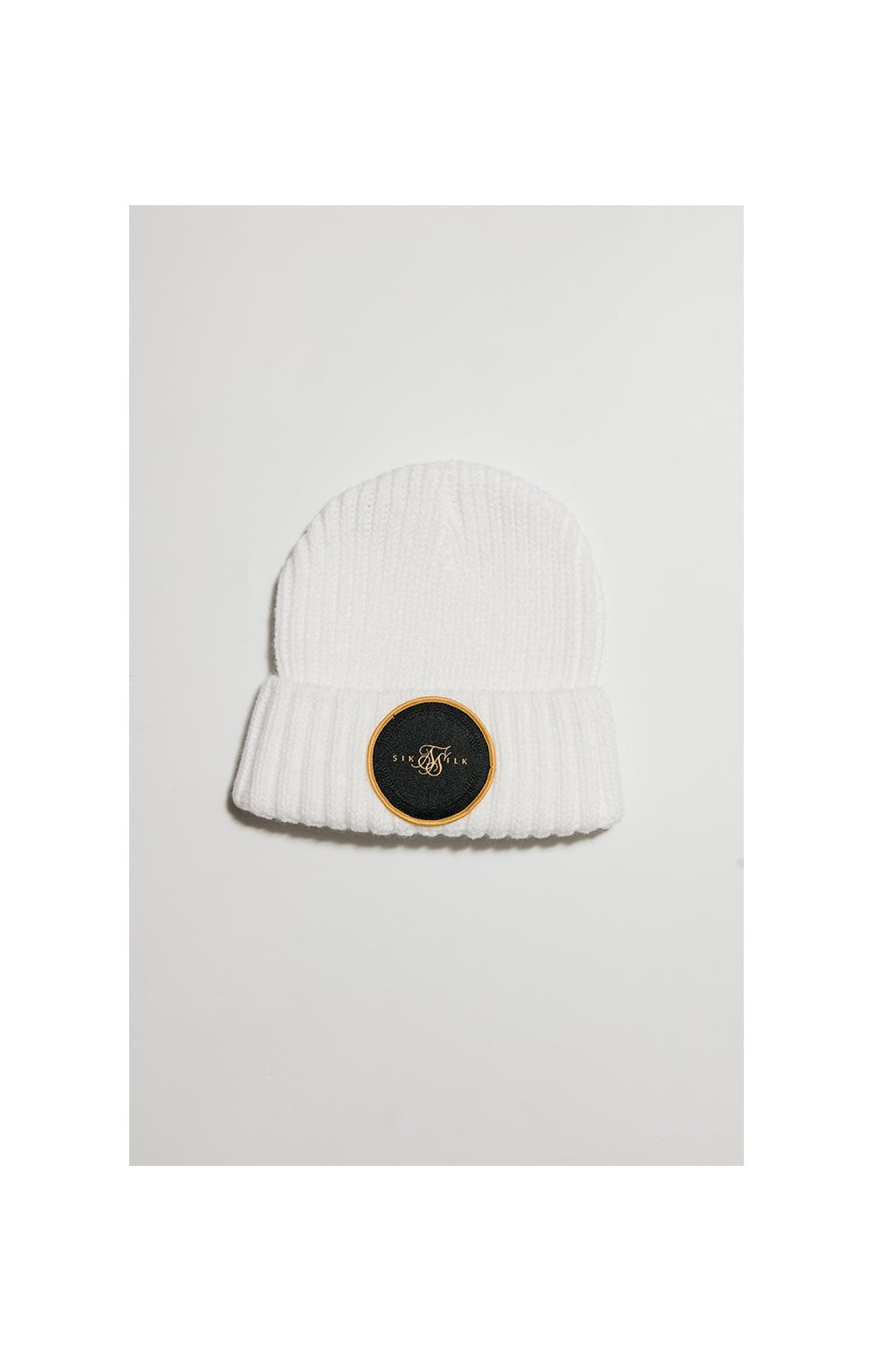 Load image into Gallery viewer, SikSilk Rib Cuff Beanie - White & Gold
