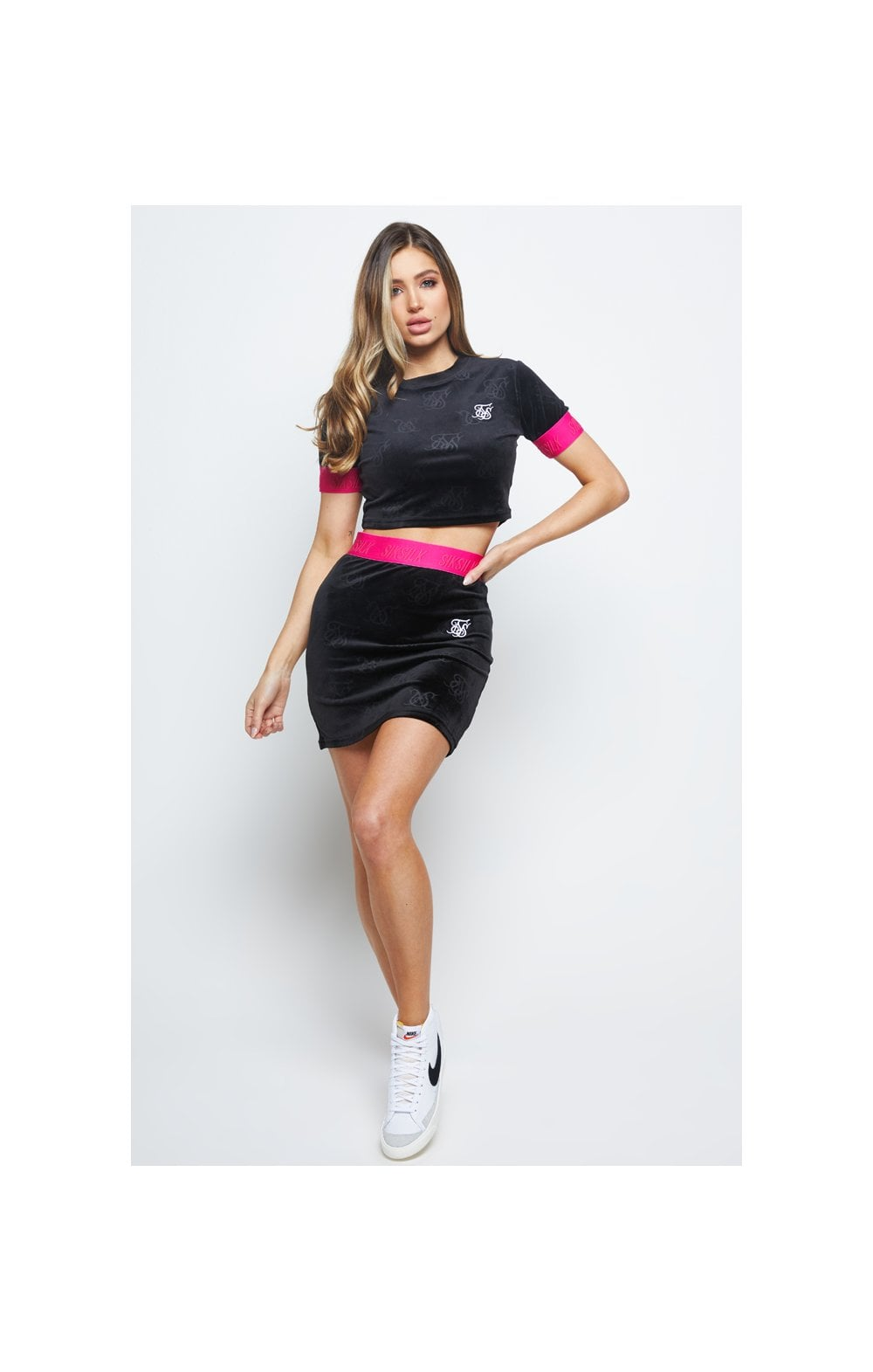 SikSilk Monogram Debossed Velour Crop Tee - Black (2)