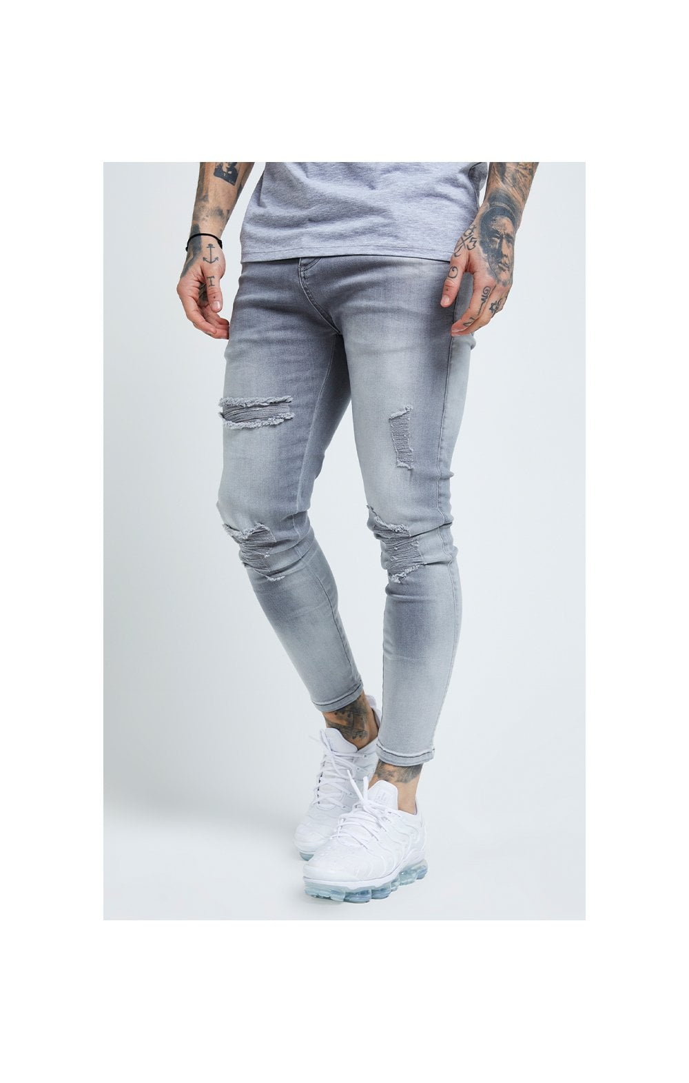 SikSilk Distressed Skinny Jeans – Washed Grey